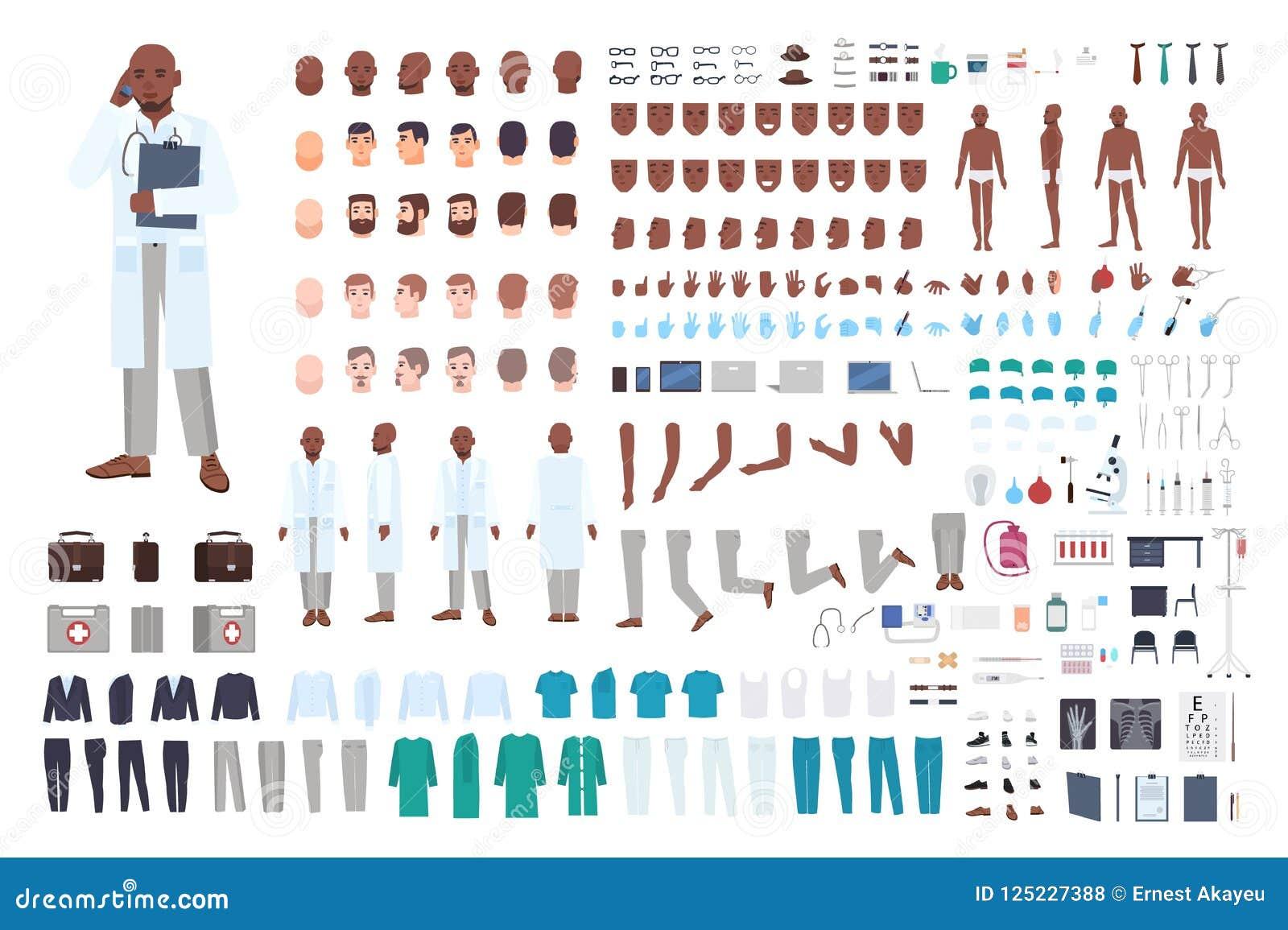 För doktors- eller läkarekonstruktör för afrikansk amerikan manlig uppsättning eller DIY-sats Packen av kroppsdelar i olikt poser