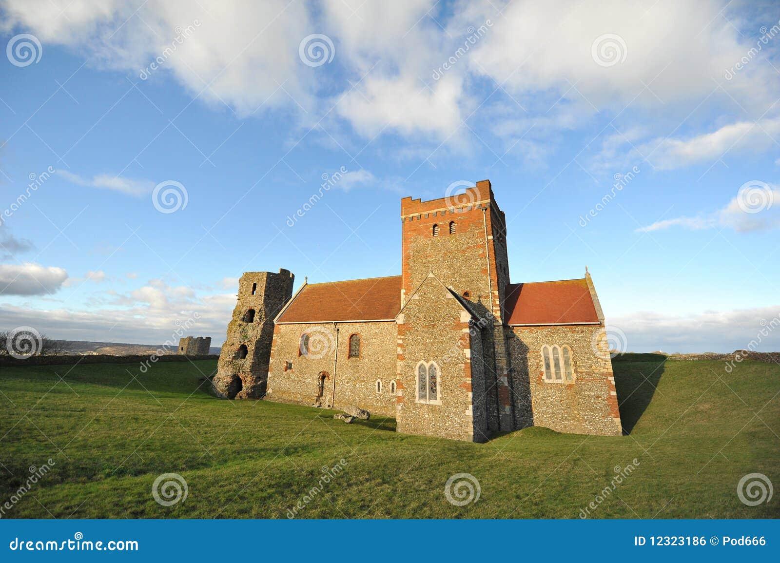 För dover för slott kyrkligt torn saxon