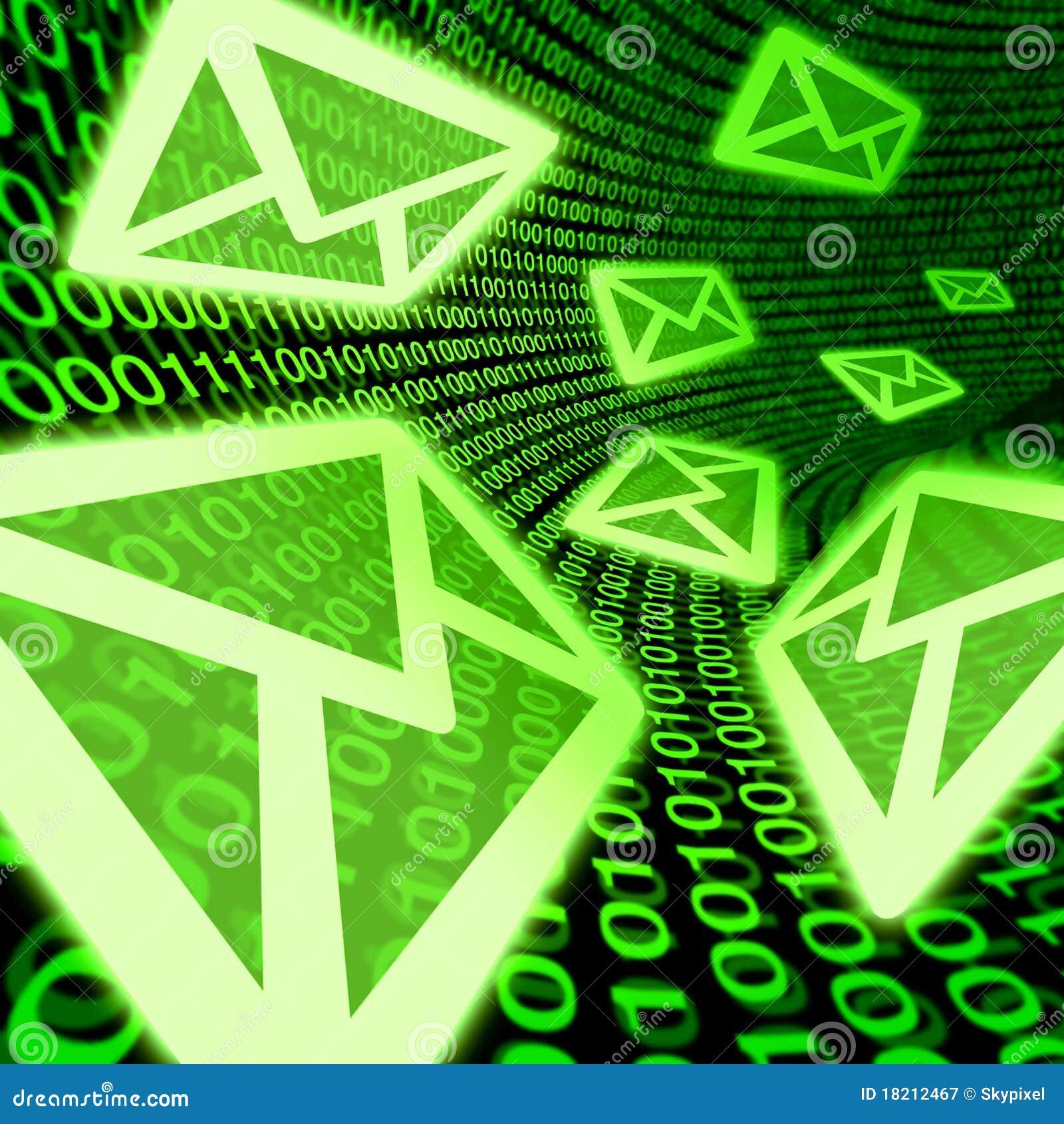 För e-postpost för binär kod digitalt e symbol för spam