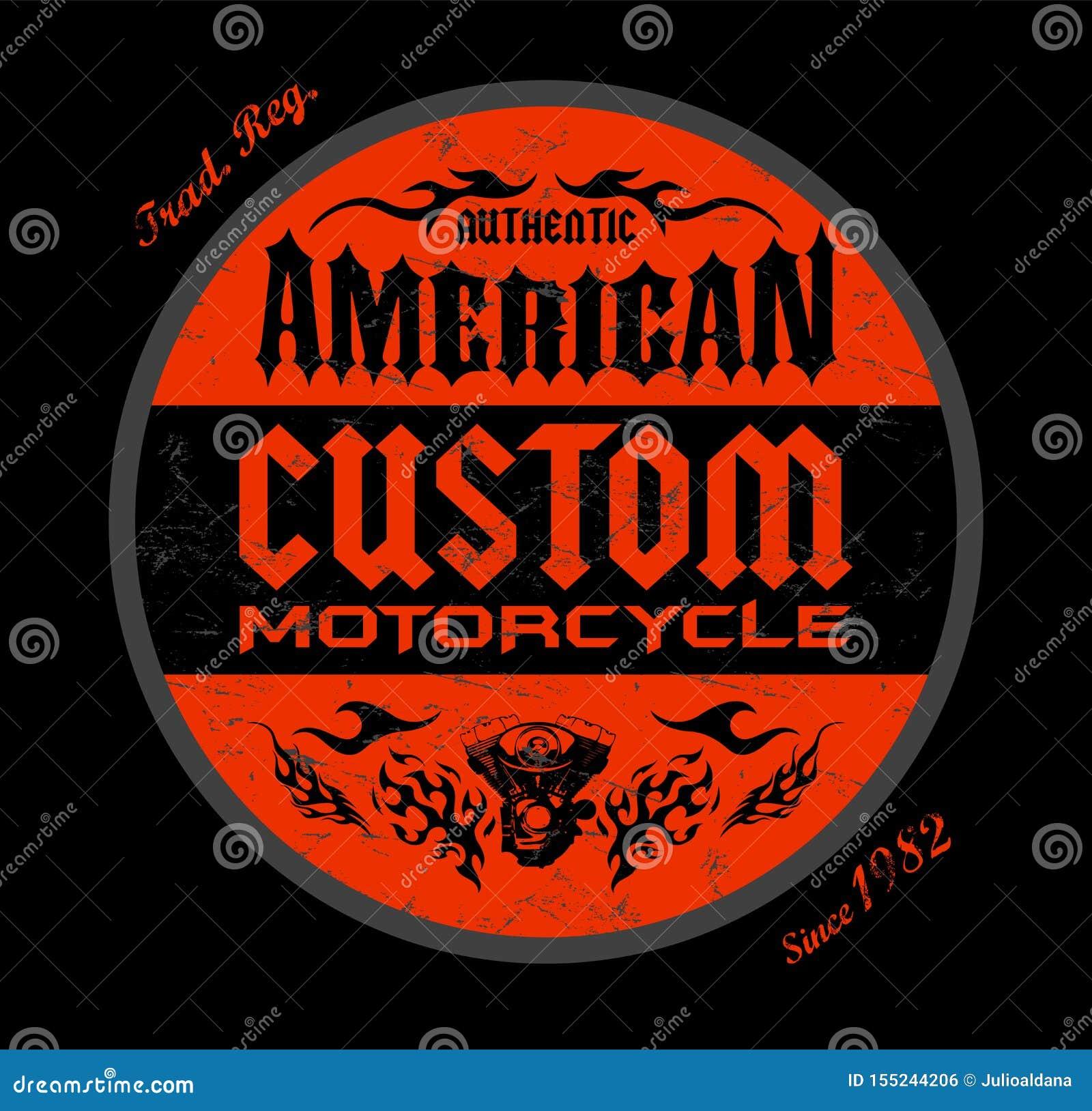 För emblemtryck för beställnings- motorcykel amerikansk design, vektoremblemillustration