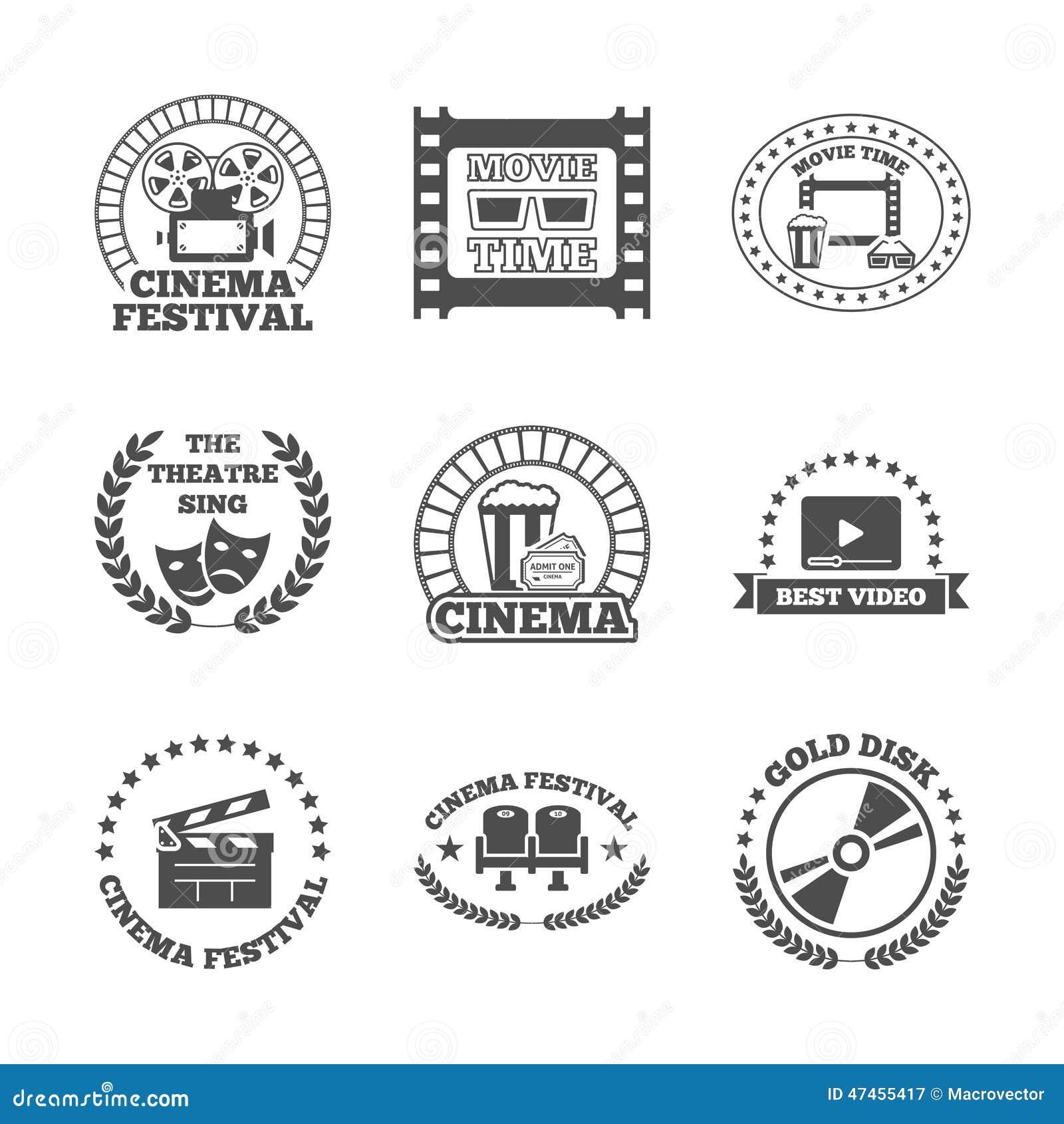 För etikettsymboler för bio svart retro uppsättning