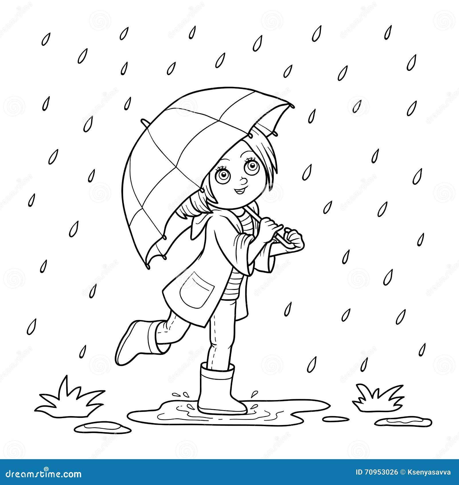 För färgläggningdiagram för bok färgrik illustration Flickaspring med ett paraply i regnet