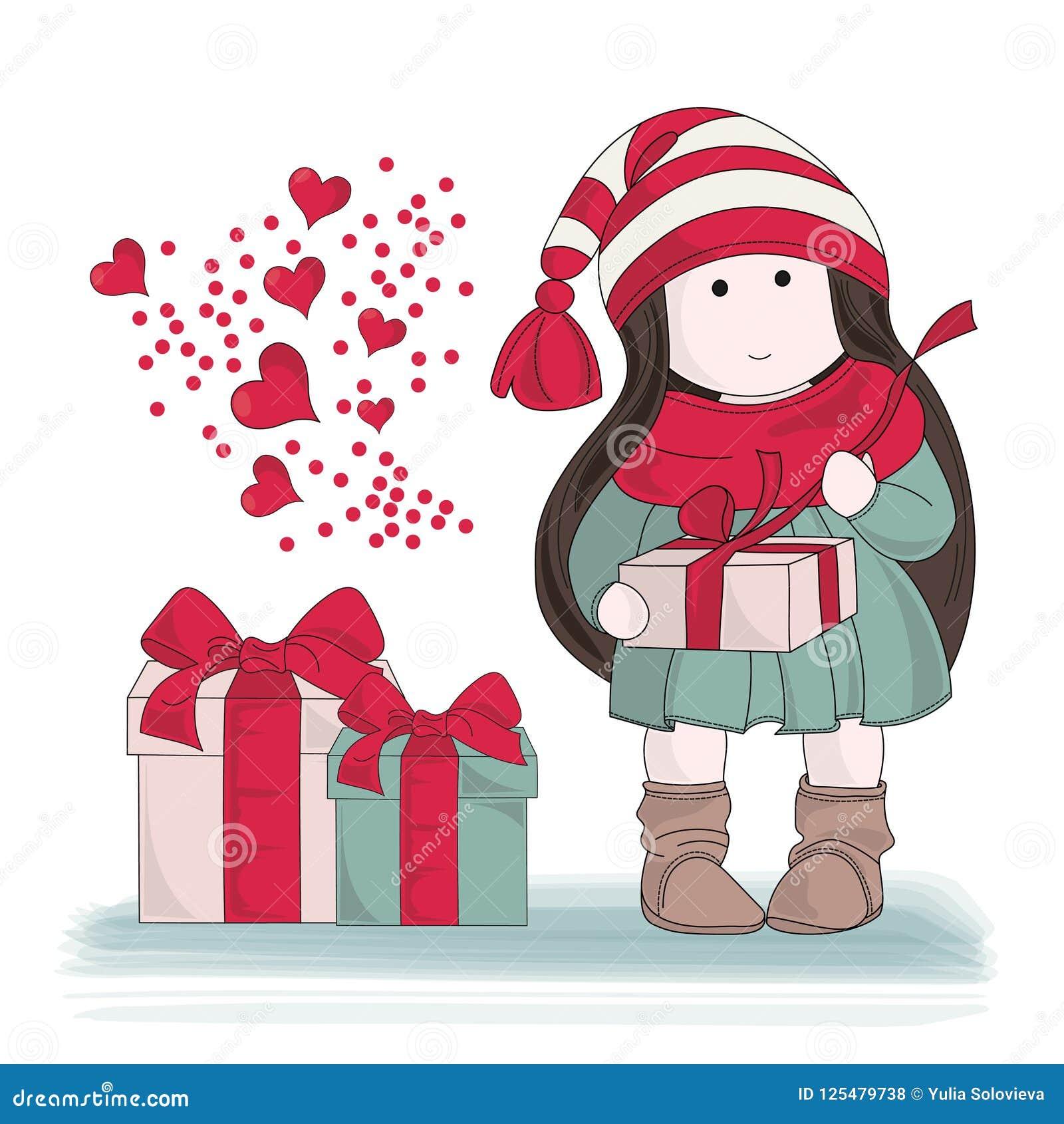 För färgvektor för glad jul GÅVA för uppsättning för illustration FRÅN HJÄRTA
