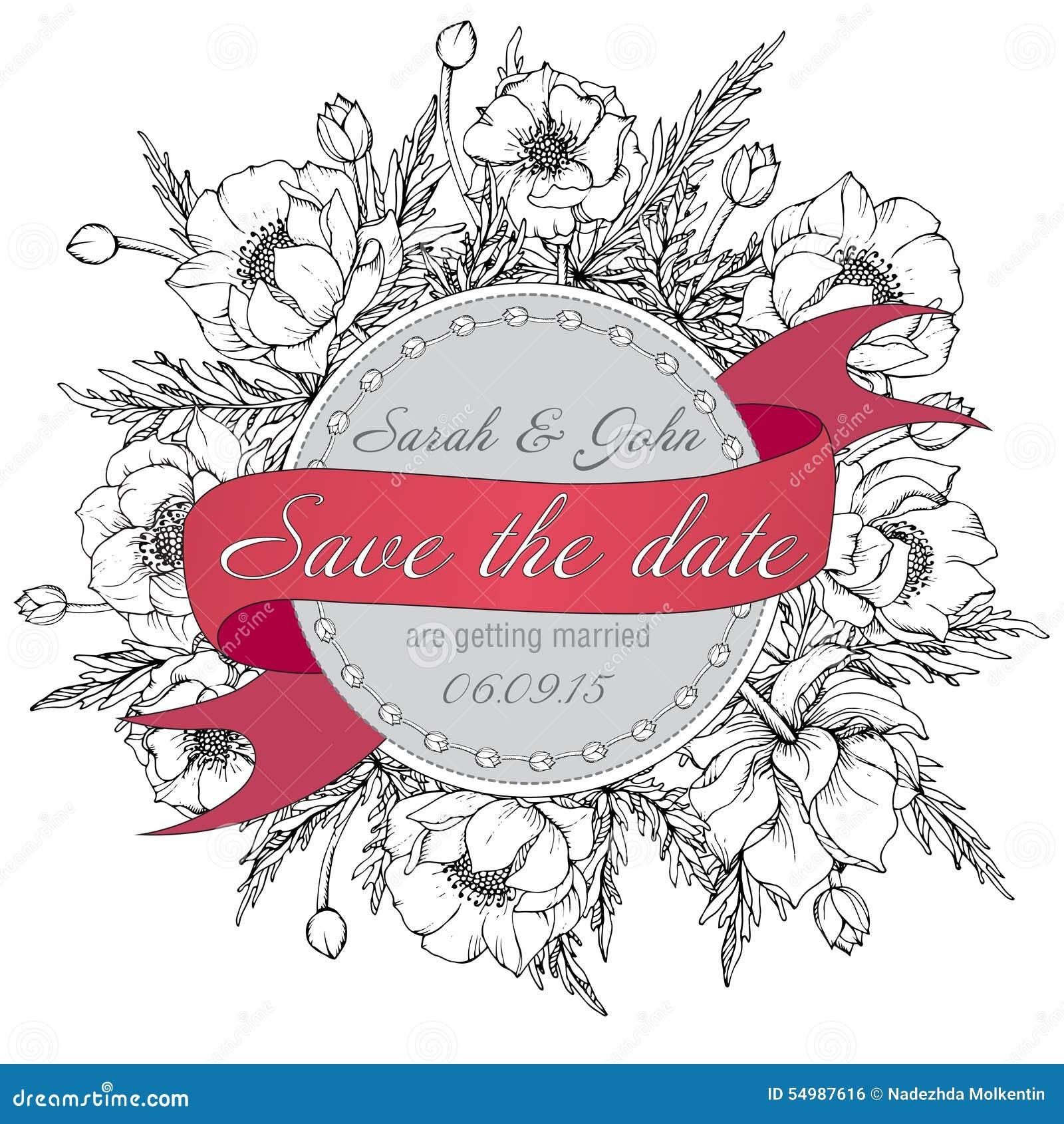 För för bröllopinbjudan eller kort för tappning elegant räddning datumet med gr