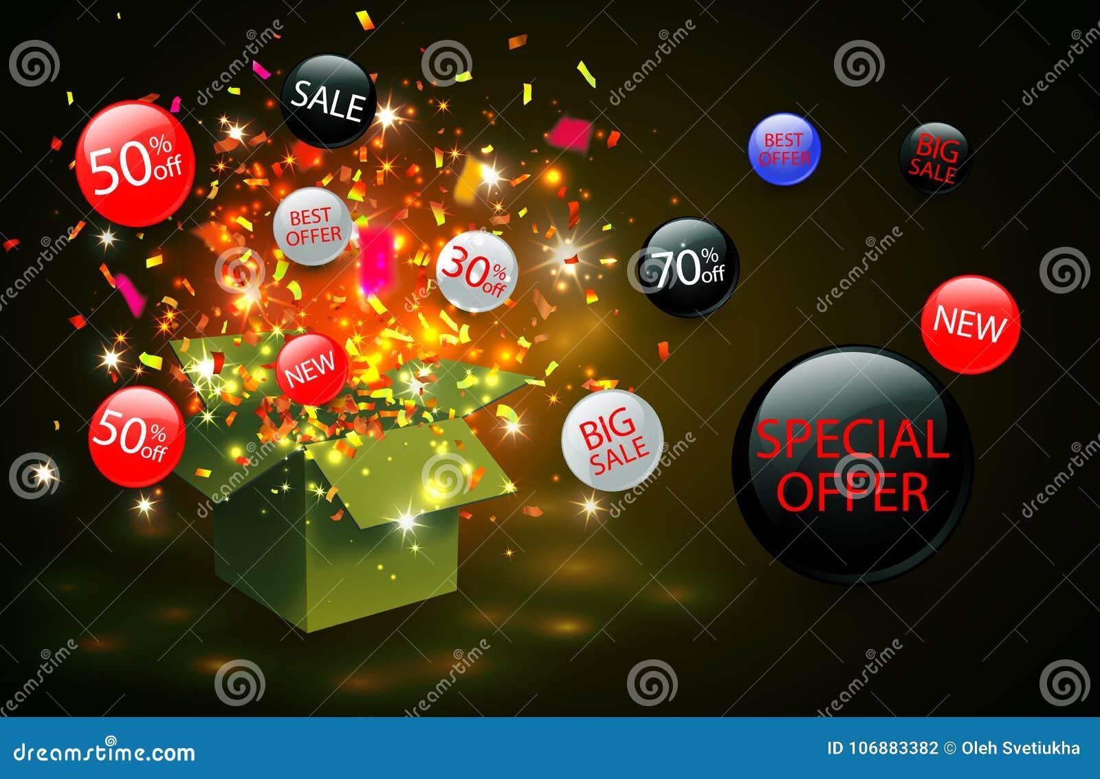 För försäljningsrabatt för specialt erbjudande symbol med öppna etiketter för gåvaask och flödes Enkelt att använda för din desig