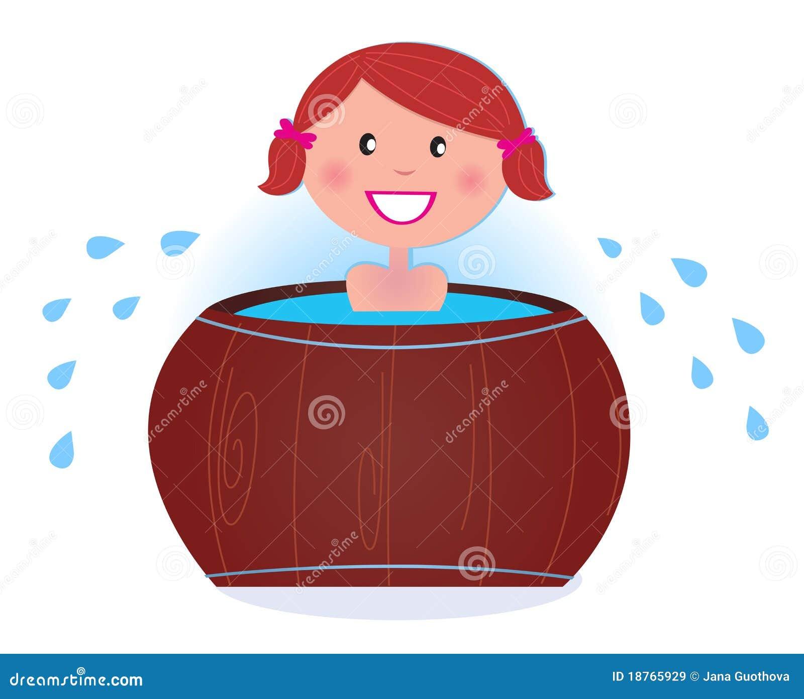 För flickabastu för trumma badar kall blötning