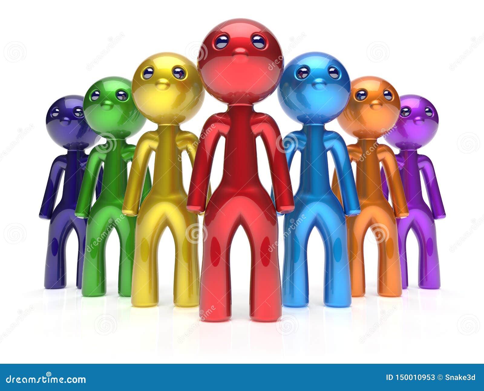 För folkmassateamwork för män tecken stiliserat folk för ledarskap