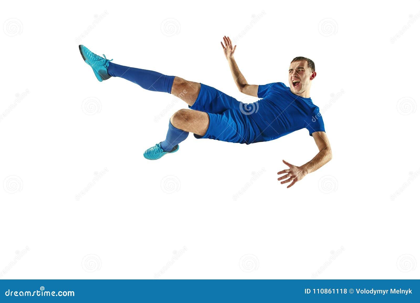 För fotbollspelare för yrkesmässig fotboll isolerad vit bakgrund