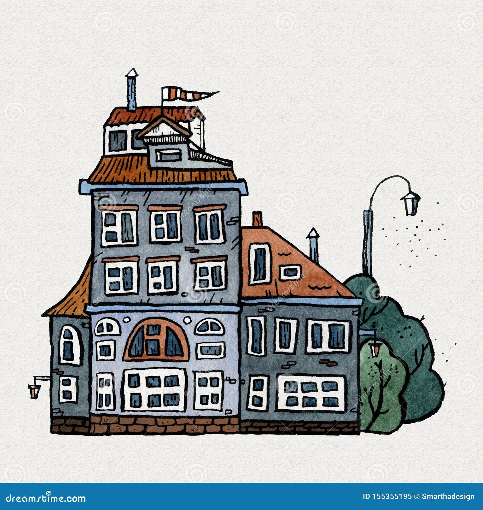 För gammal illustration för vattenfärg stadhand för Cityscape utdragen Gammalt stadslandskap med tornet, hus, träd Grungefärgpulv