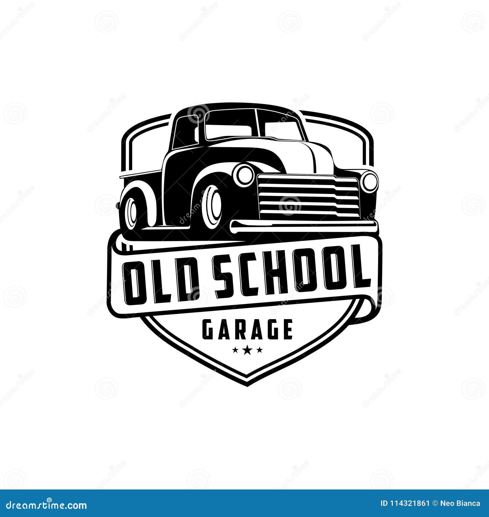För garagelastbil för gammal skola vektor för logo