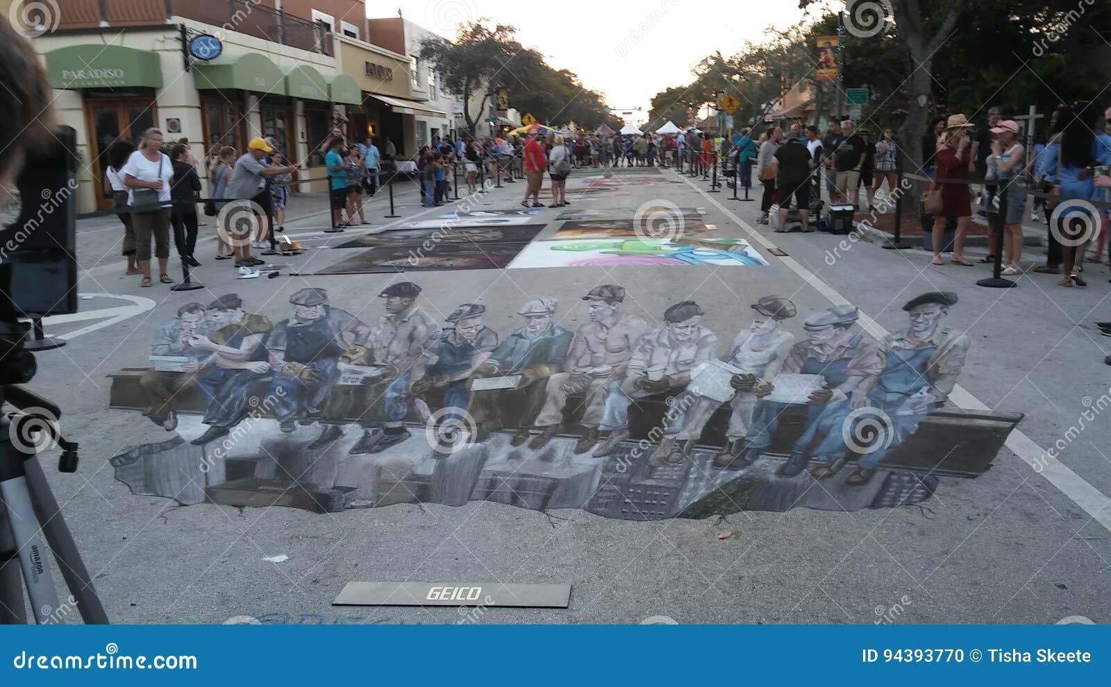 För gatamålning för sjö värd festival
