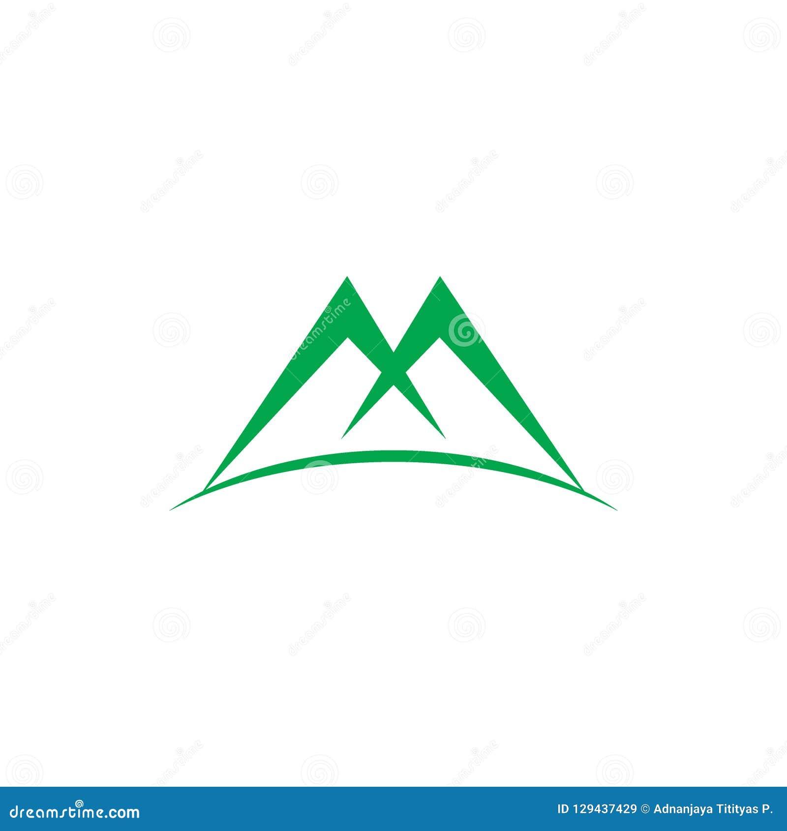 För gräsplanberg för bokstav M vektor för logo