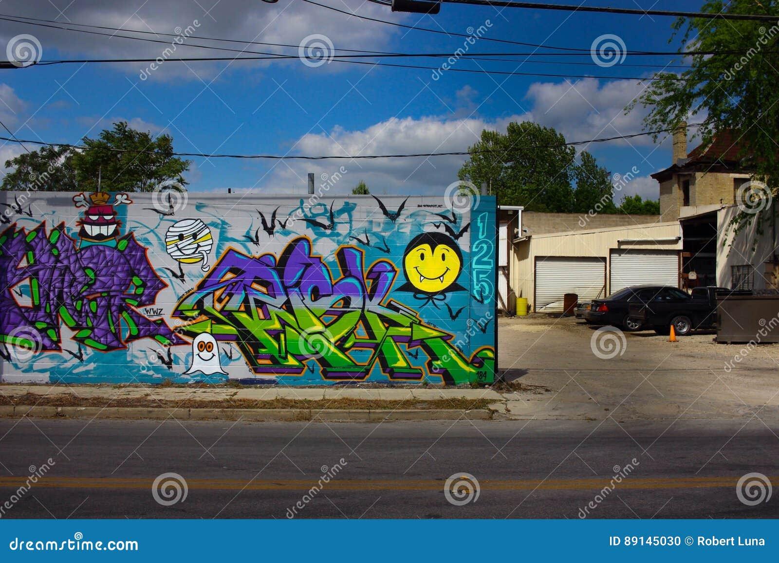För grafittigata för konst färgrik räknad vägg