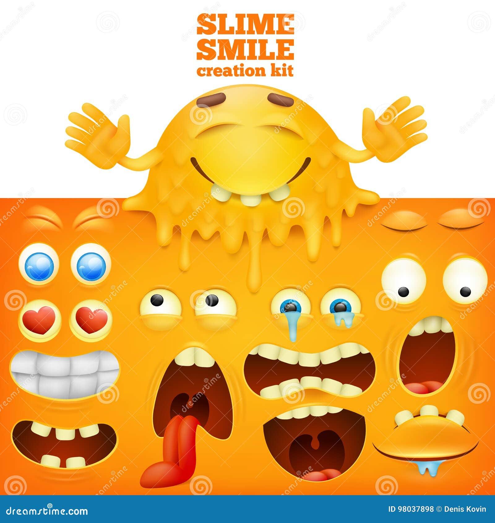 För gul idérik uppsättning smileyframsida för slam