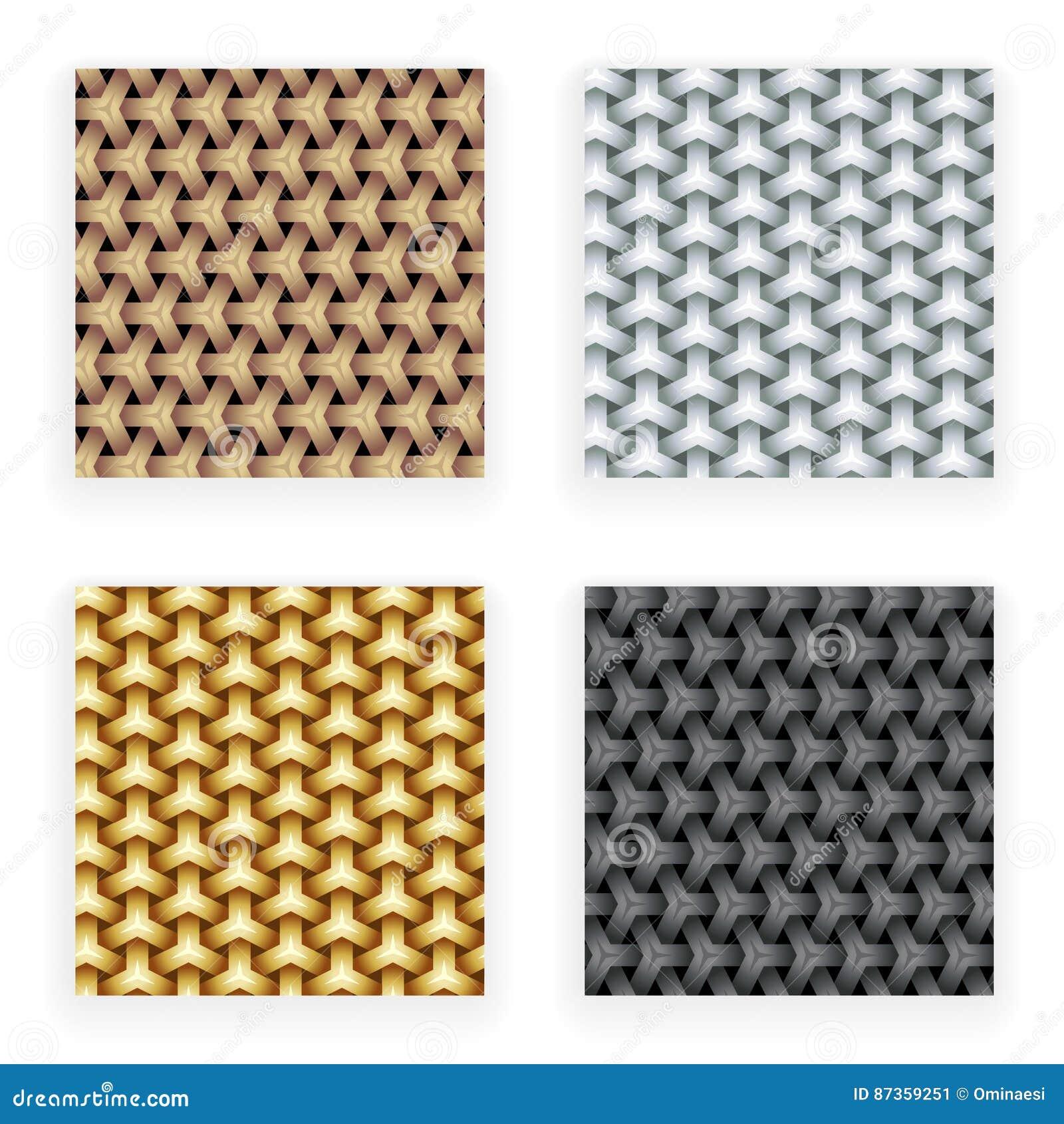 För guld- mall för fastställd design för modeller silverkoppar för metall sömlös på stilfull abstrakt bakgrundsvektorillustration