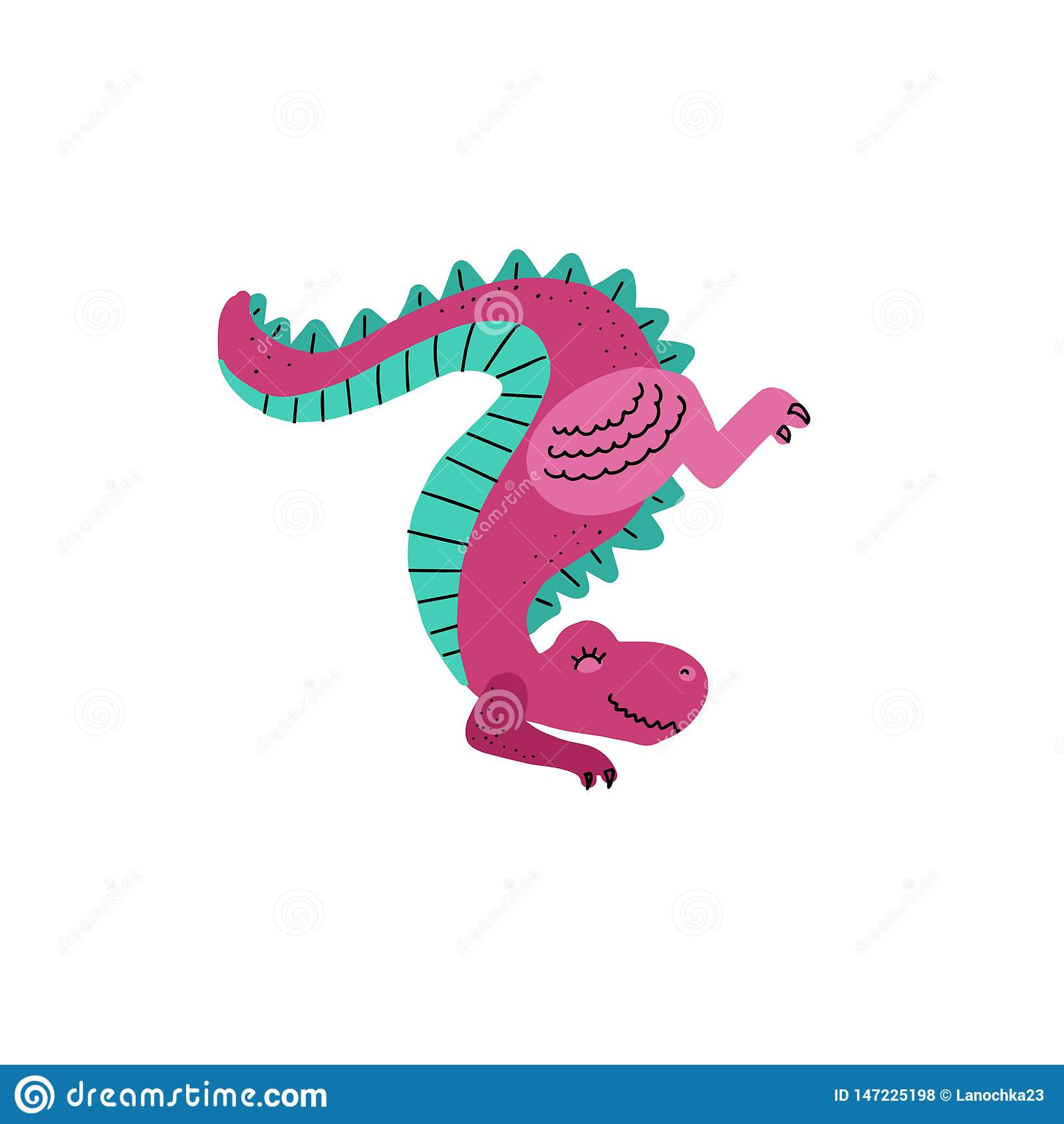 För gullig anseendet för dinosaurie tecknad filmhand för vektor tafsar det utdragna på framdelen svansen upp tyrannosaurus Vektor