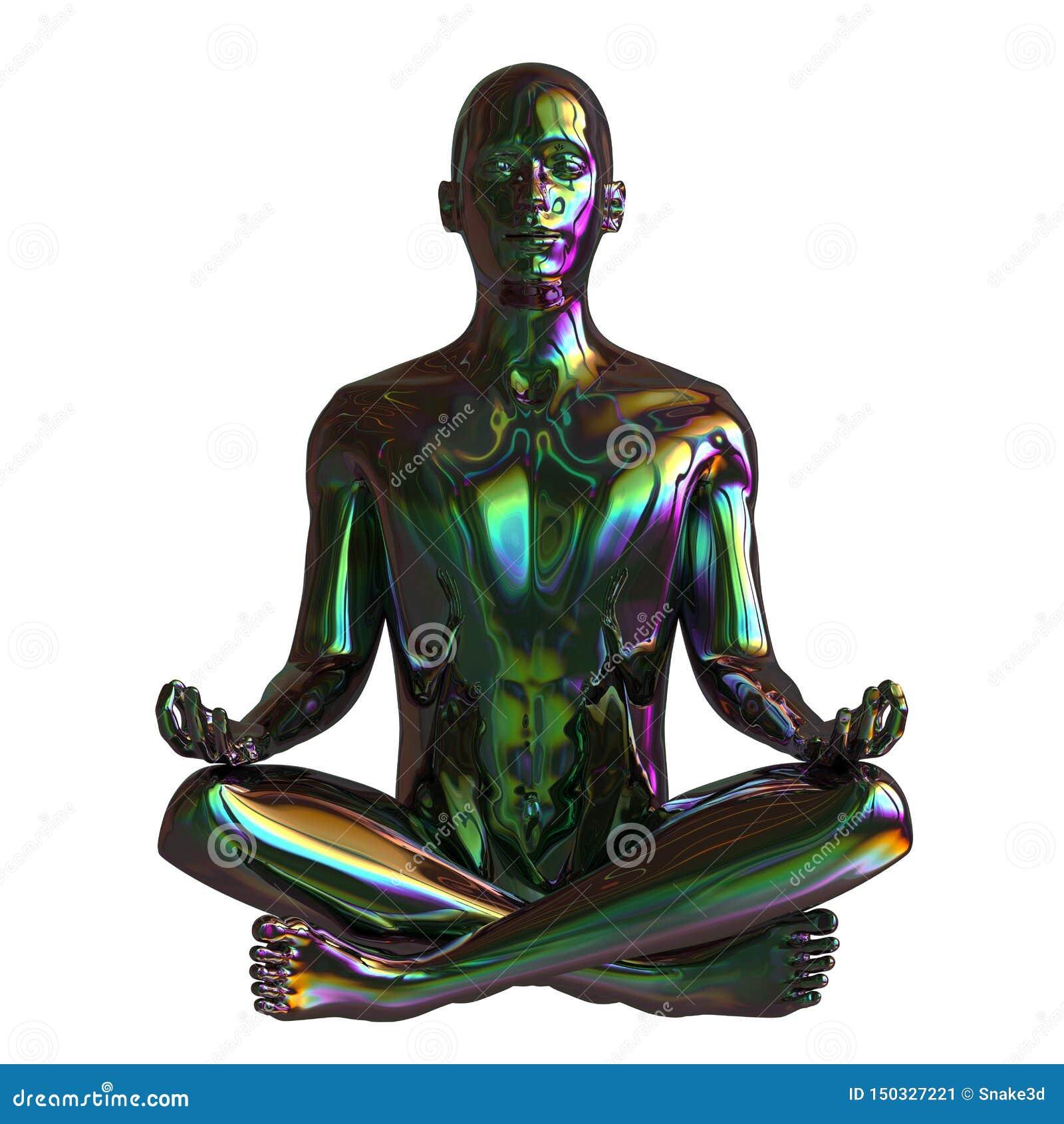 För guruzenen för järn poserar det mänskliga mentala lotusblomma för mannen teckenet stiliserad