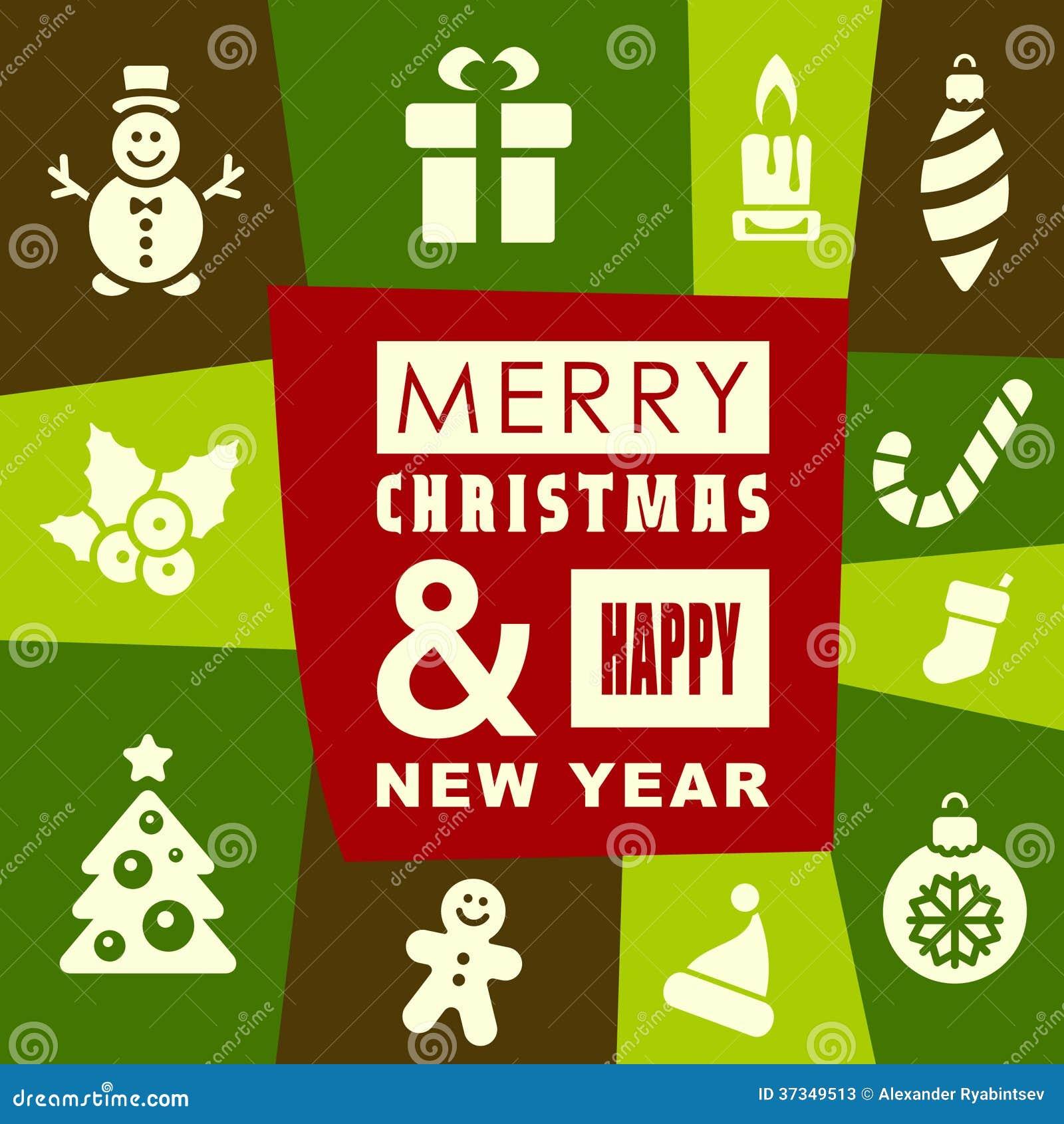 För hälsningkort för jul och för nytt år design