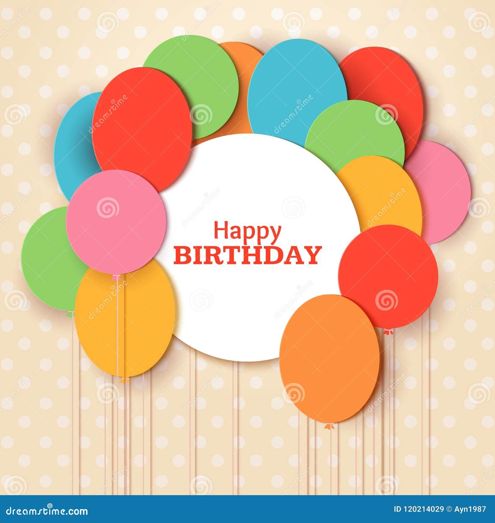 För hälsningkort för lycklig födelsedag mall med vitrundaramen Att flyga papperssnittet sväller på blå bakgrund vektor