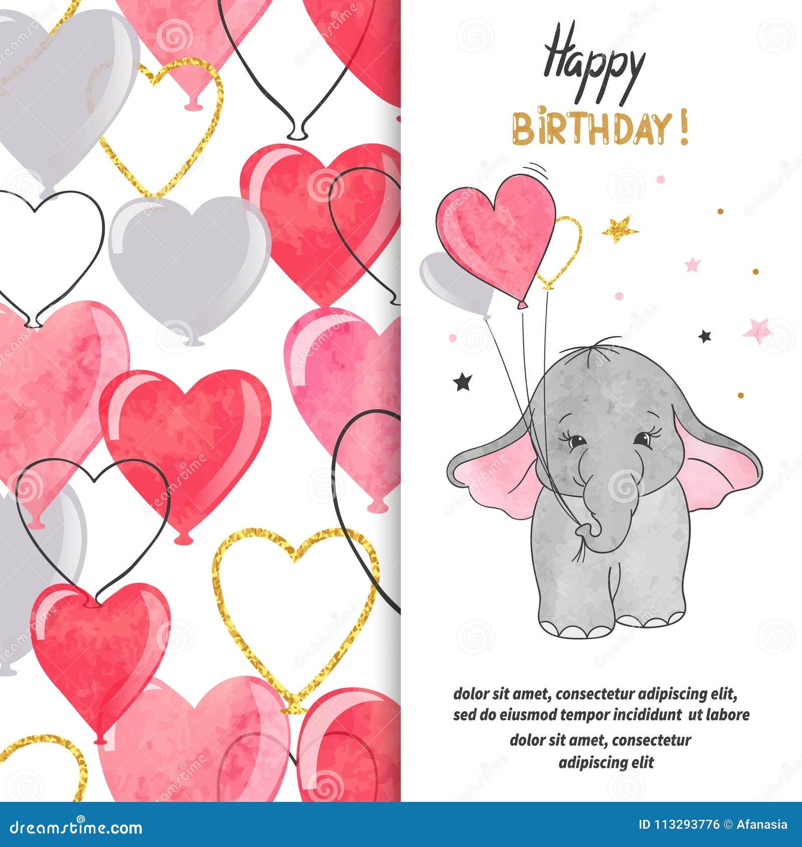 För hälsningkortet för den lyckliga födelsedagen designen med gulligt behandla som ett barn elefanten, och hjärta sväller