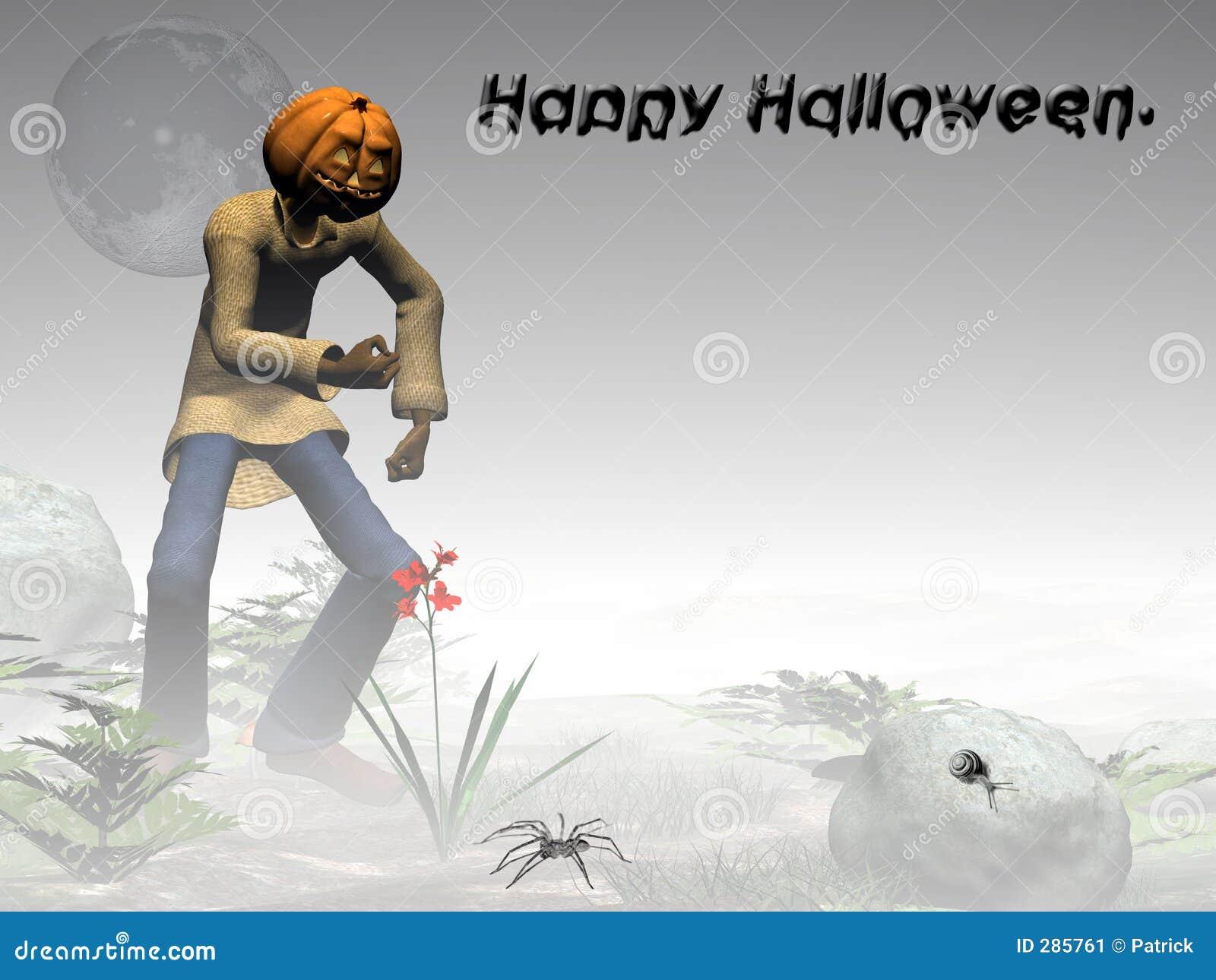 För halloween för dimmig skog pumpa lycklig stålar