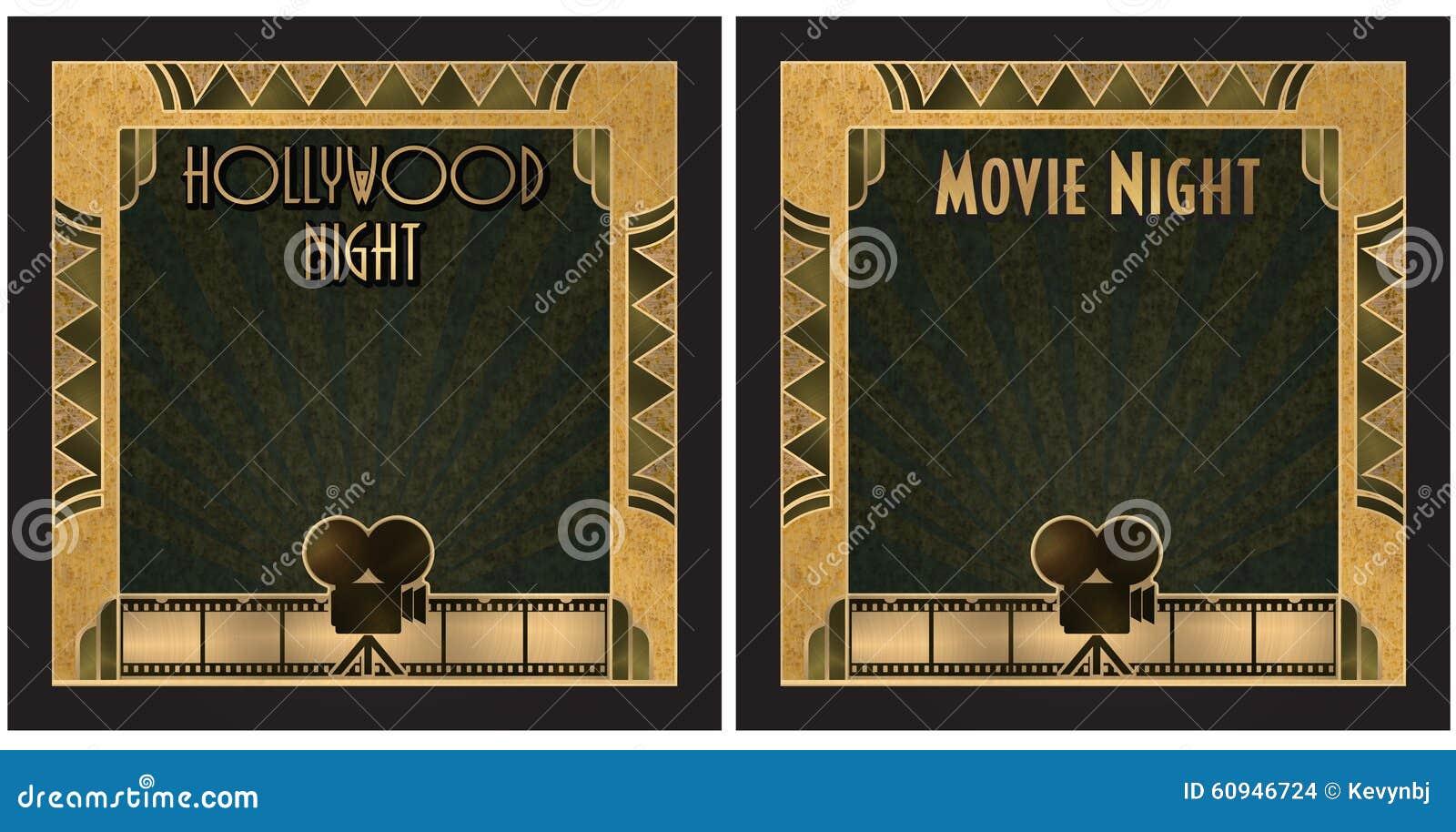 För Hollywood för filmnatt inbjudan natt