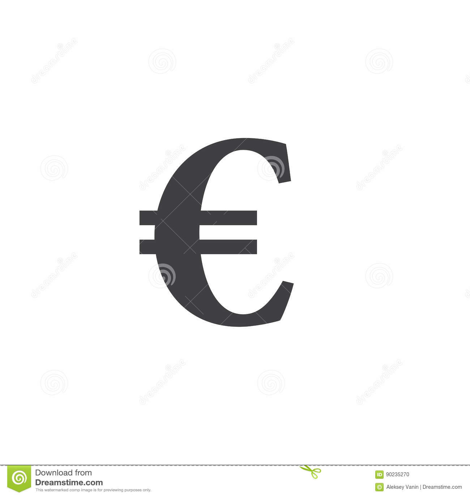 För illustrationserie för euro brännhett symbol underteckna den fasta logoillustrationen, pictogramiso