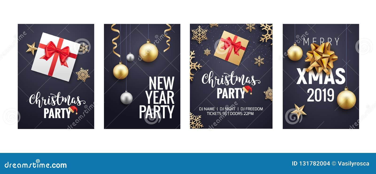 För julhälsning för nytt år design för reklamblad eller för broschyr för bakgrund för kort Guld- garnering för julferiebaner