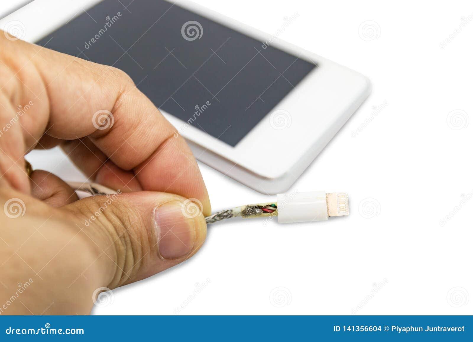 För kabeltelefon för fara osäker brist för uppladdare av skada på vit bakgrund