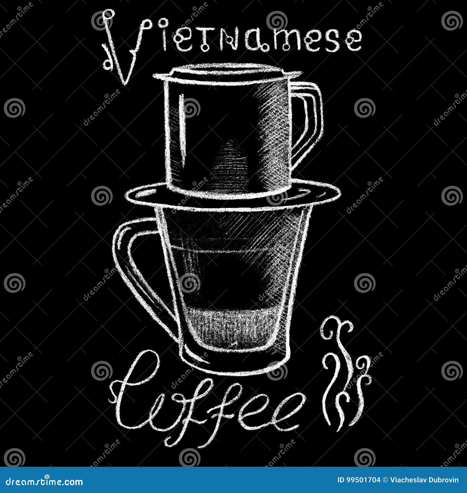 För kaffekopp för vit krita vietnamesisk teckning Handdrawn illustration för Vietnam stil filtrerad kaffe