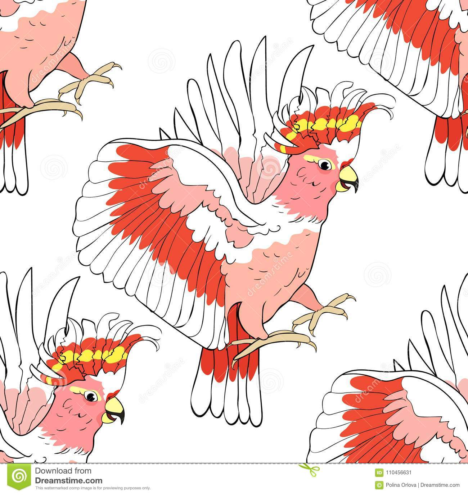 För kakaduapapegoja för sömlös modell exotisk Inca för rosa färger Vektor Illust