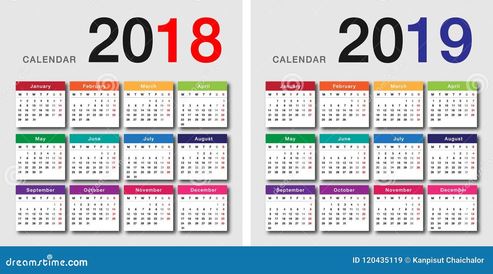 För kalendervektor för år 2018 och för år 2019 design
