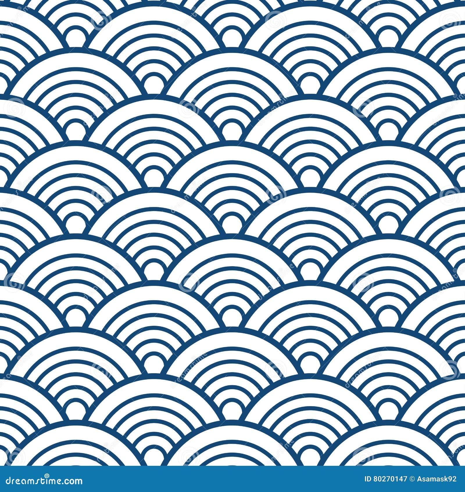För kinesSeigaiha för indigoblå marinblå traditionell våg japansk bakgrund modell