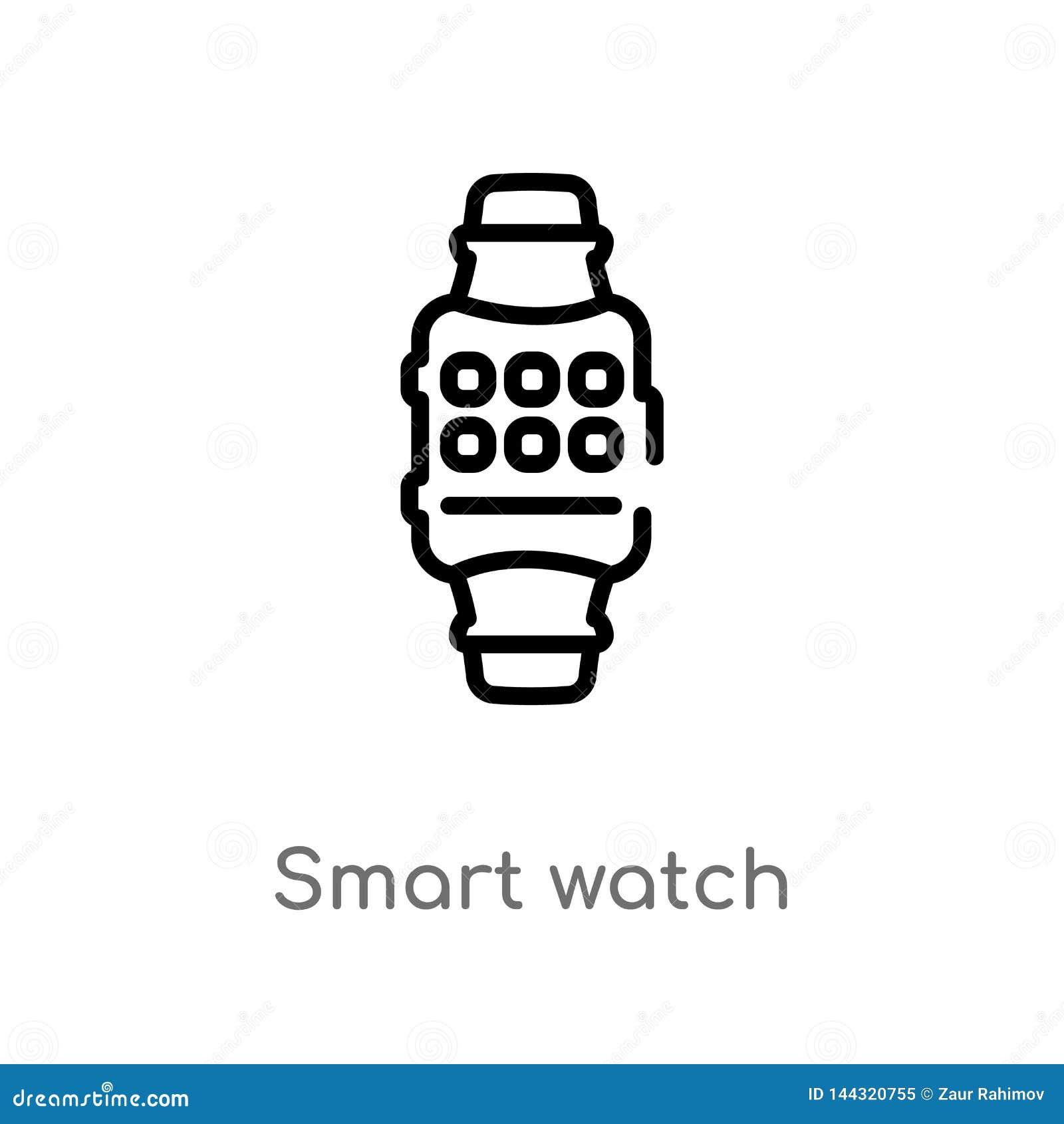F?r klockavektor f?r ?versikt smart symbol isolerad svart enkel linje best?ndsdelillustration fr?n teknologibegrepp Redigerbar ve
