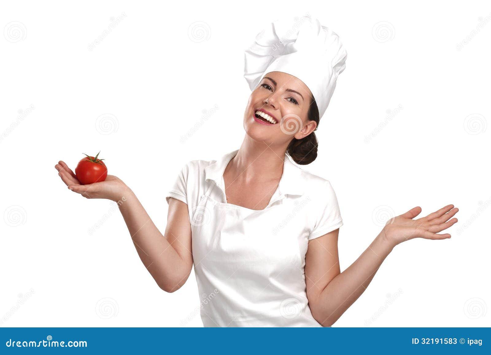 För kockvisning för ung kvinna ingredienser för italiensk mat