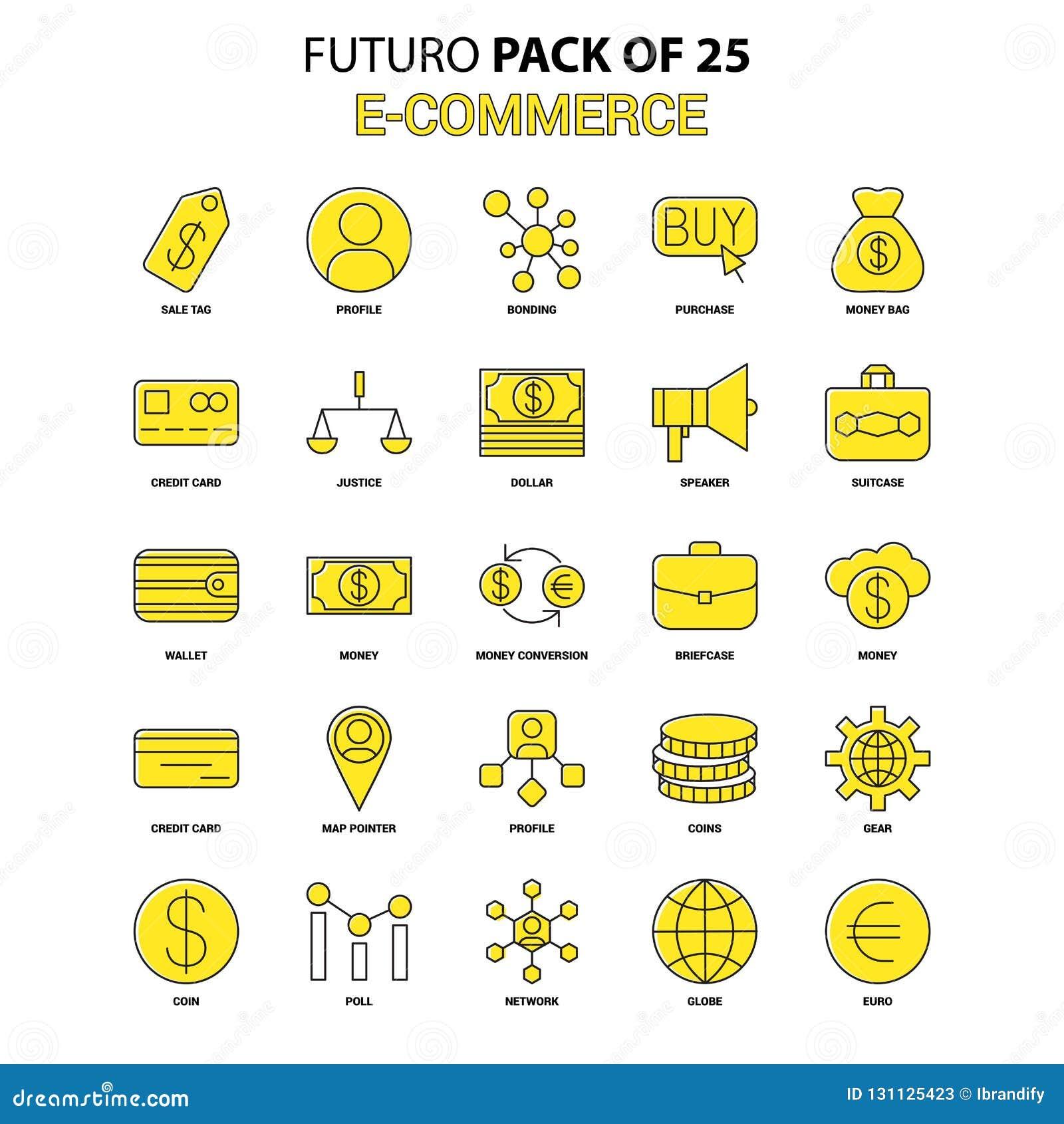 10 för kommers e redigerbar eps för mapp set för symbol fullt Gul packe för Futuro senast designsymbol
