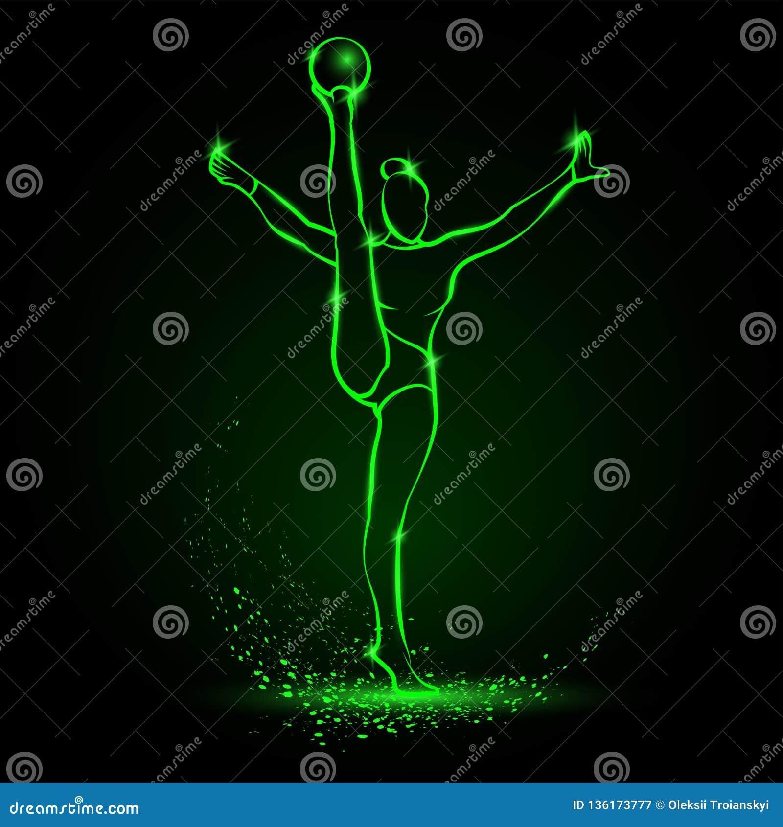 För konstgymnast för yrkesmässig kvinna som idrottsman nen utför med bollen Grön linjär neonkonstgymnastik på en svart bakgrund