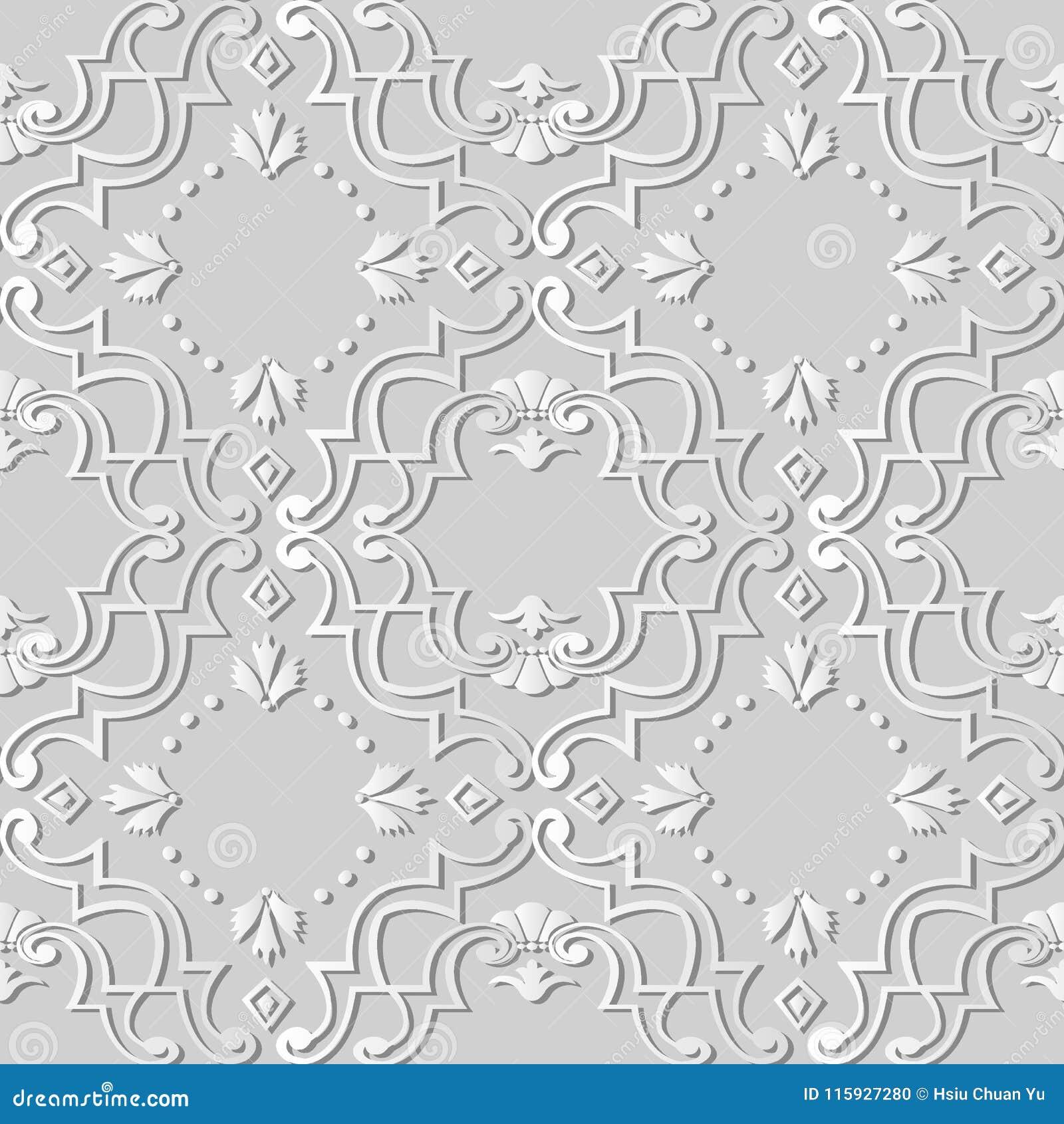 För konstspiral för vitbok 3D prick för blomma för ram för kors för kurva