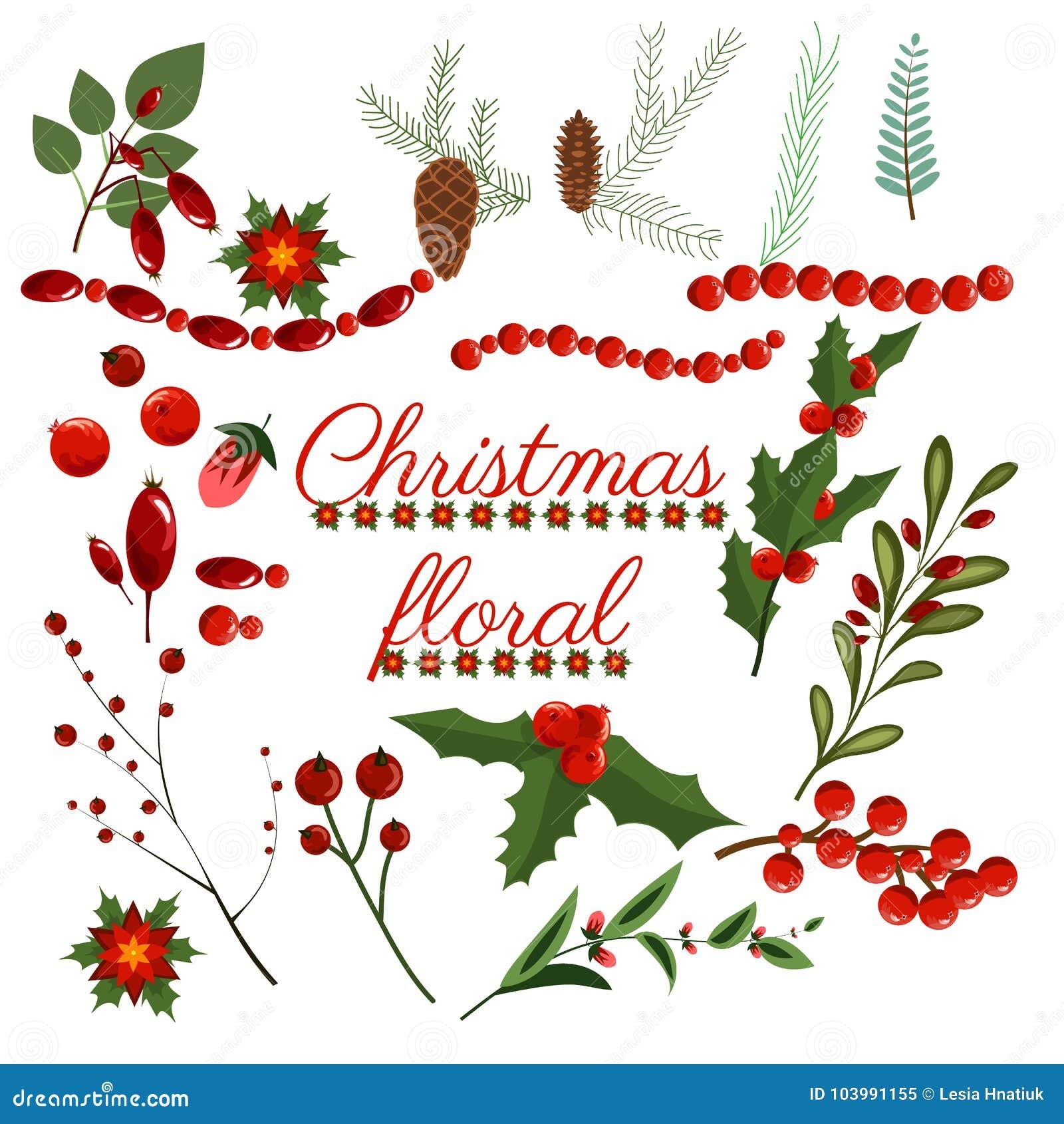 För kransvinter för jul blom- krans för illustration för design för blomma för konst för vektor för beståndsdelar för ferie för f