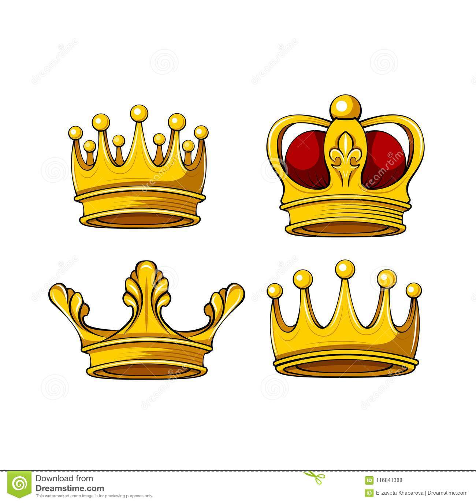 För kronasymboler för tecknad film kunglig uppsättning Vektorkonung, drottning, prins, prinsessaattribut bakgrundsdesignelement f
