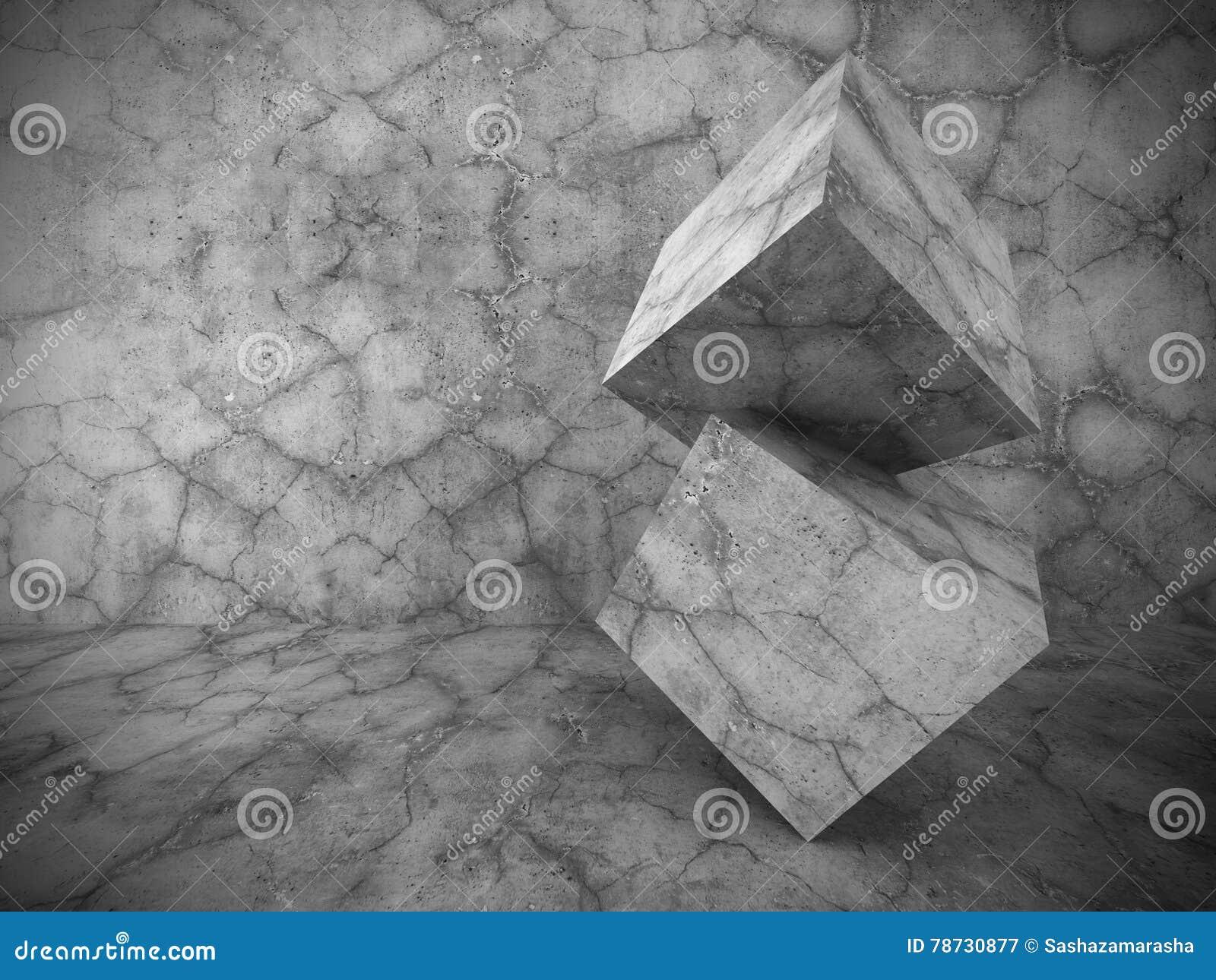 För kubarkitektur för mörker konkret geometrisk bakgrund