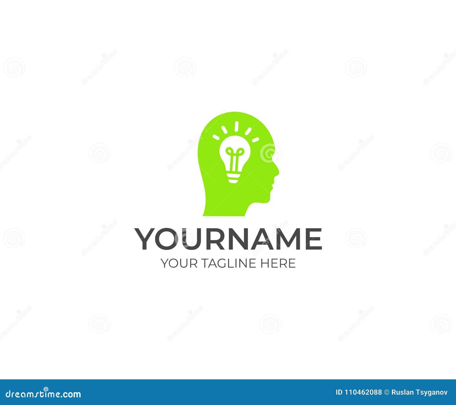 För kulalogo för mänskligt huvud och hjärnmall Idérik idé och ljus kula med av den head vektordesignen
