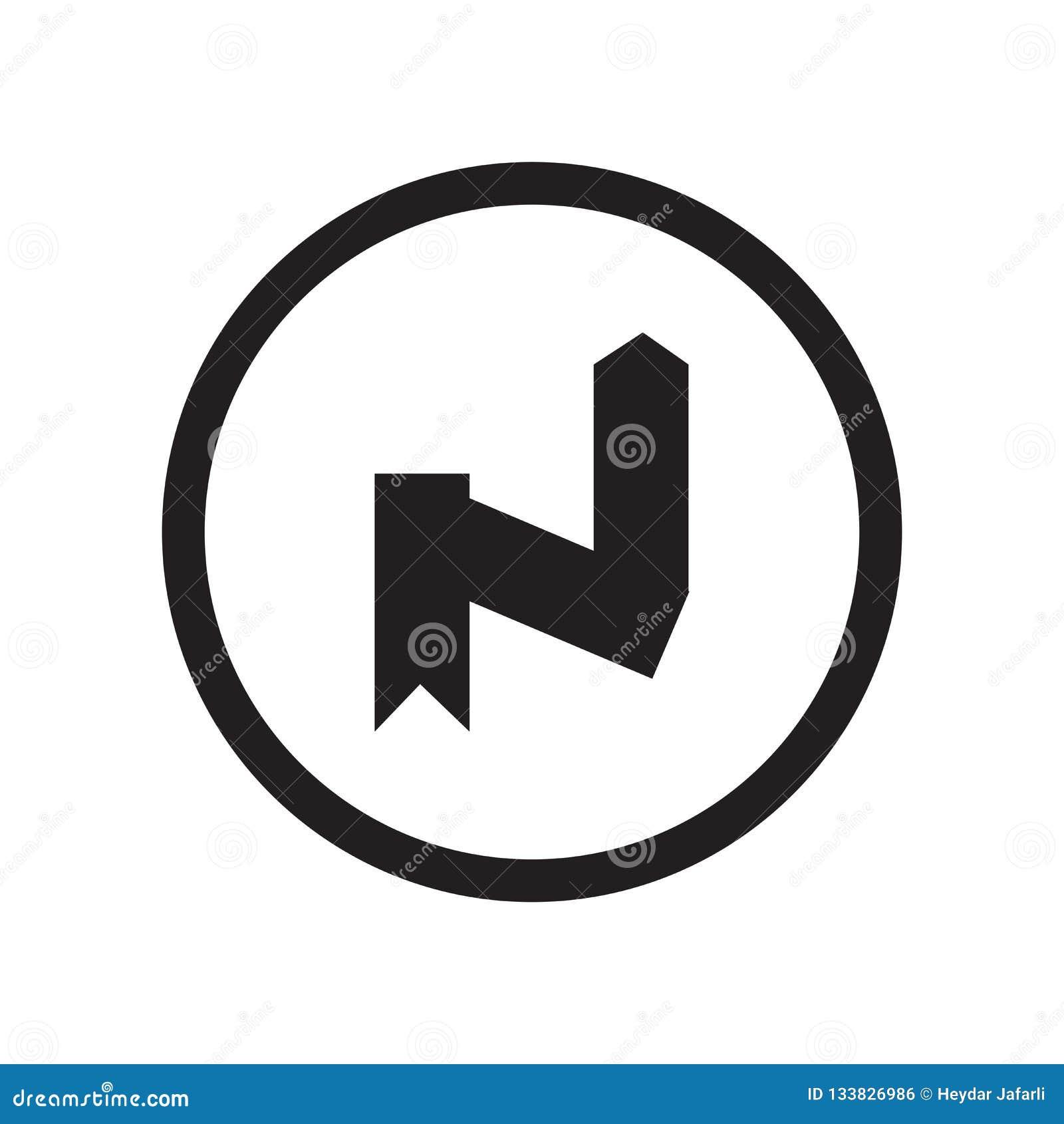 För kurvsymbol för rätt som omvänt tecken och symbol för vektor isoleras på vit bakgrund, högert omvänt kurvlogobegrepp