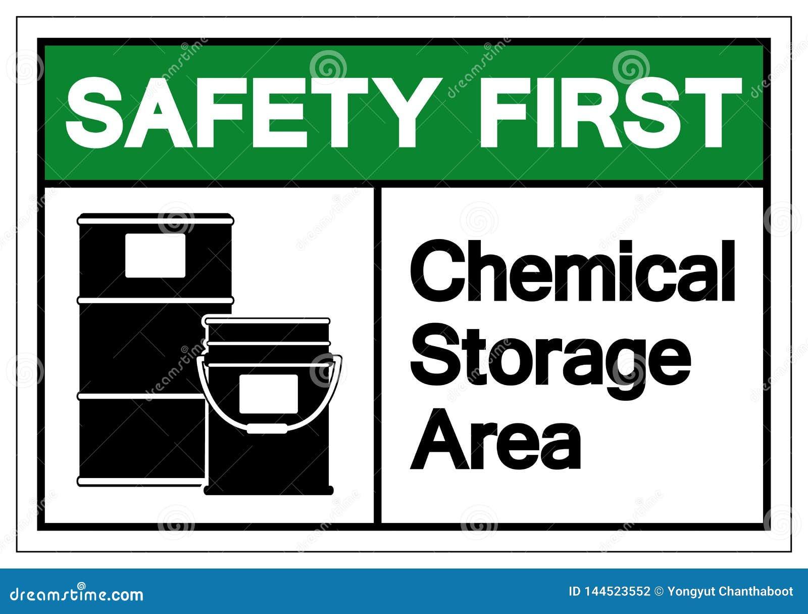 För lagringsområde för säkerhet första kemiska tecken för symbol, vektorillustration, isolat på den vita bakgrundsetikette