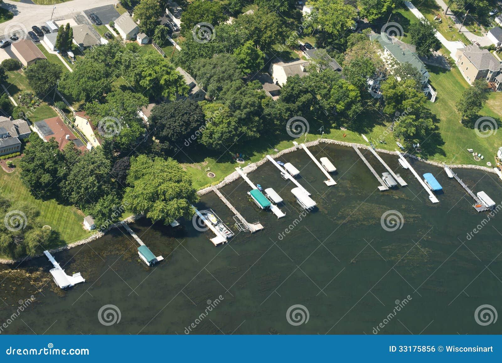För Lakefrontstrand för flyg- sikt egenskap vatten för uppehälle för sjö
