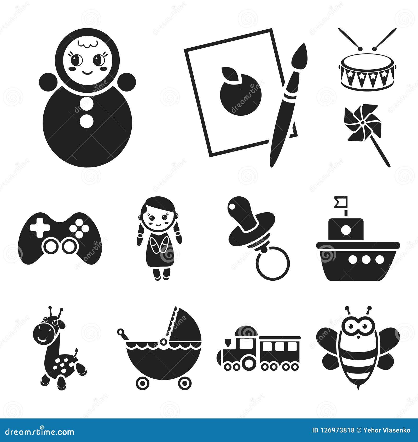 För leksaksvart för barn s symboler i uppsättningsamlingen för design Lek- och struntsakvektorsymbolet lagerför rengöringsdukillu