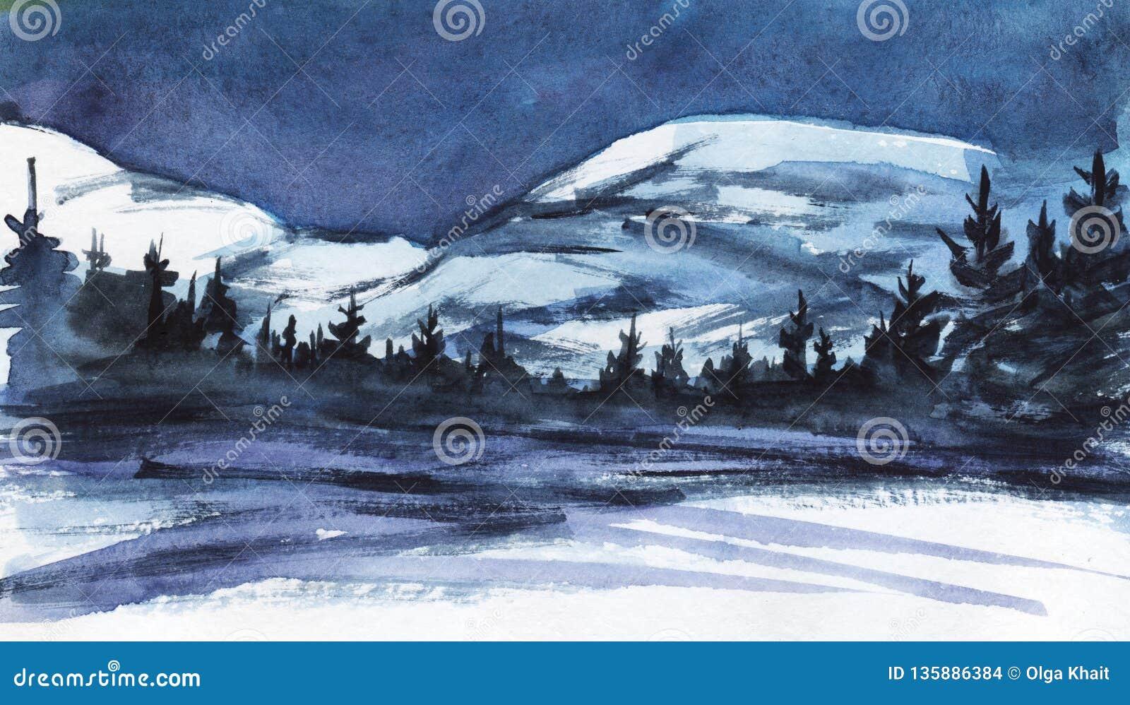 För ligganderussia för 33c januari ural vinter temperatur Avlägsna snöig berg Mörk kontur av den prydliga skogen, dentäckte dalen