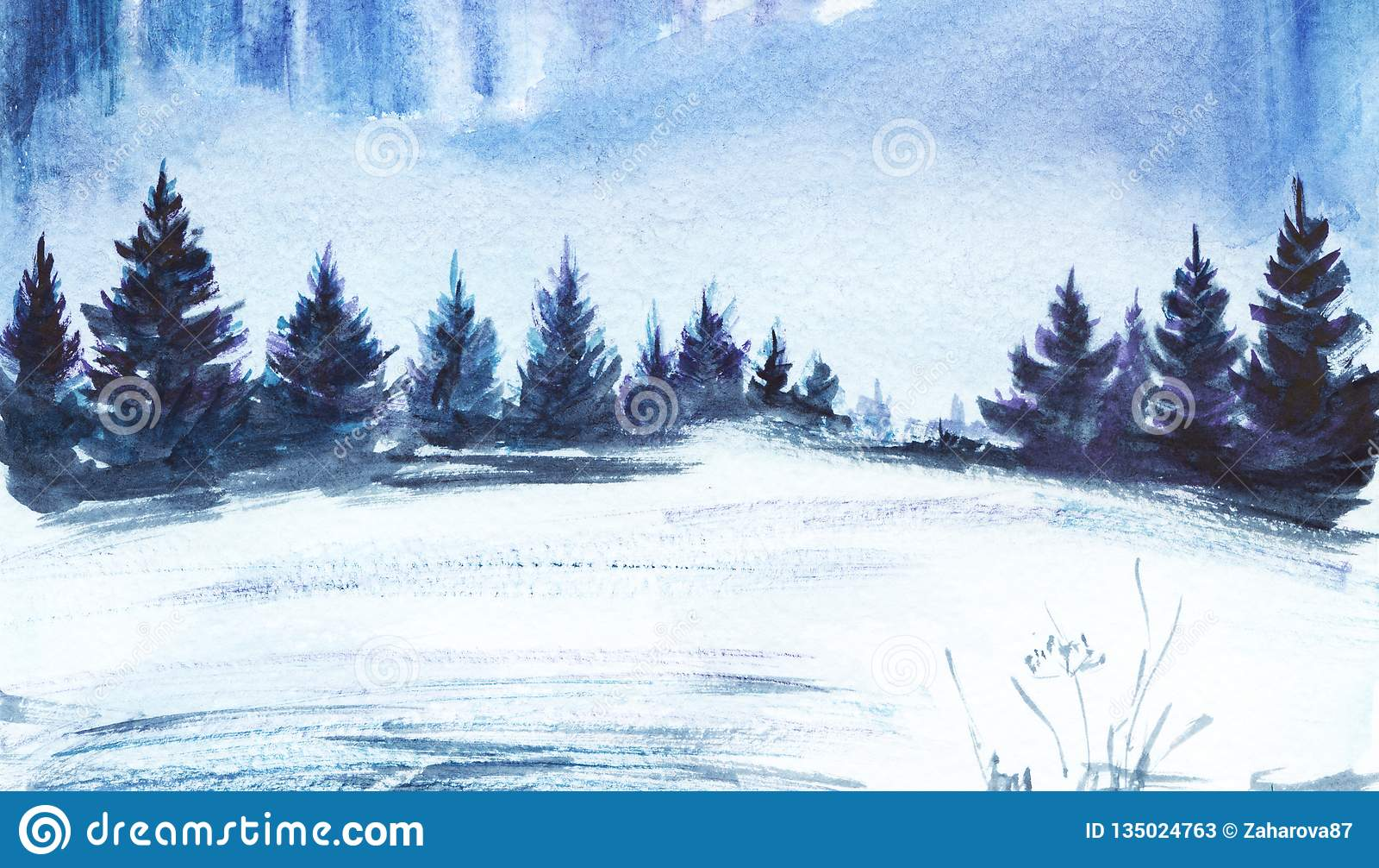 För ligganderussia för 33c januari ural vinter temperatur Frodig prydlig skog, snöig fält Hand dragen vattenfärgillustration