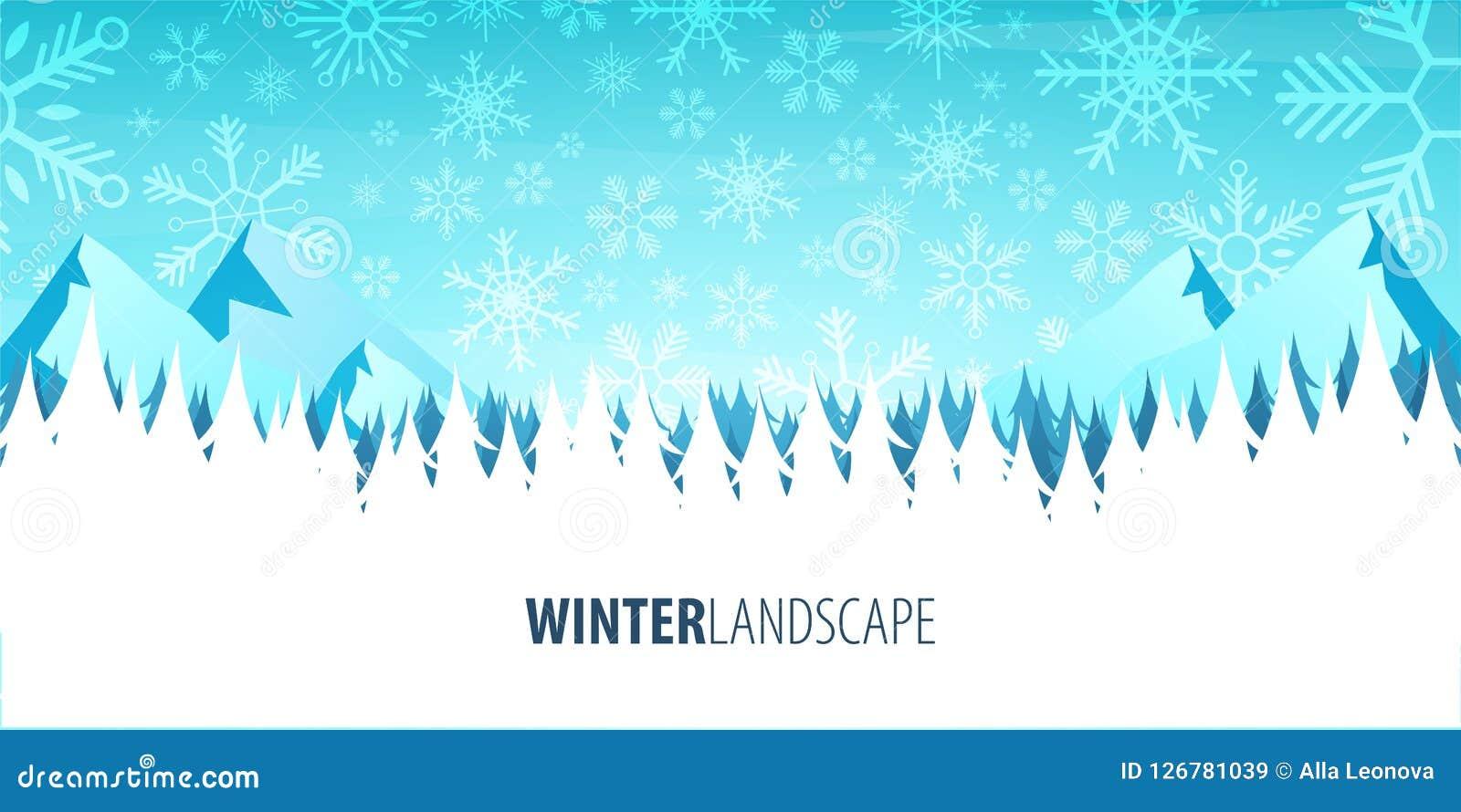 För ligganderussia för 33c januari ural vinter temperatur Julskogträn med berg också vektor för coreldrawillustration