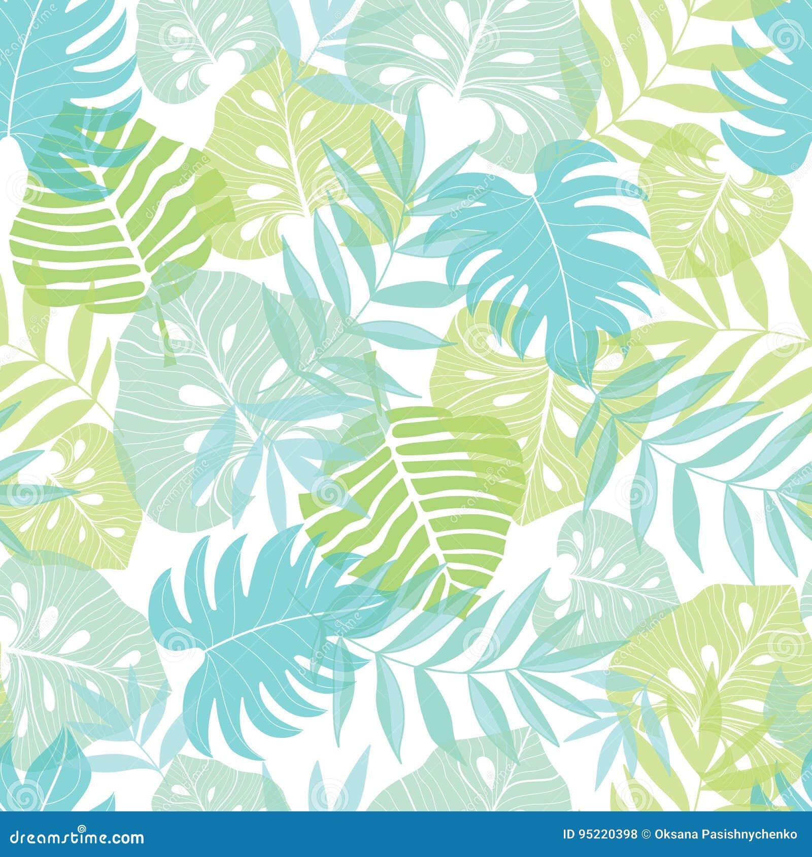 För ljus tropisk hawaiansk sömlös modell sidasommar för vektor med tropiska gröna växter och sidor på marinblått